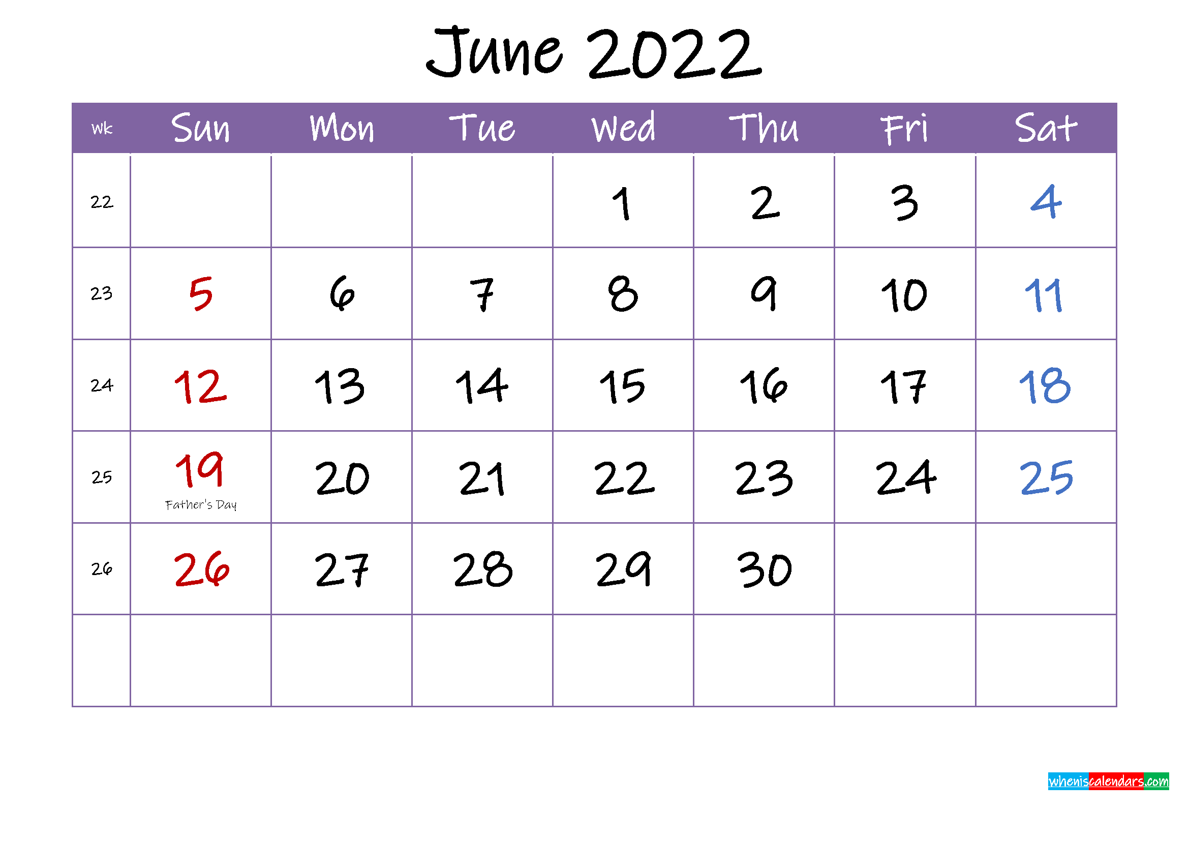 June 2022 Calendar with Holidays Printable