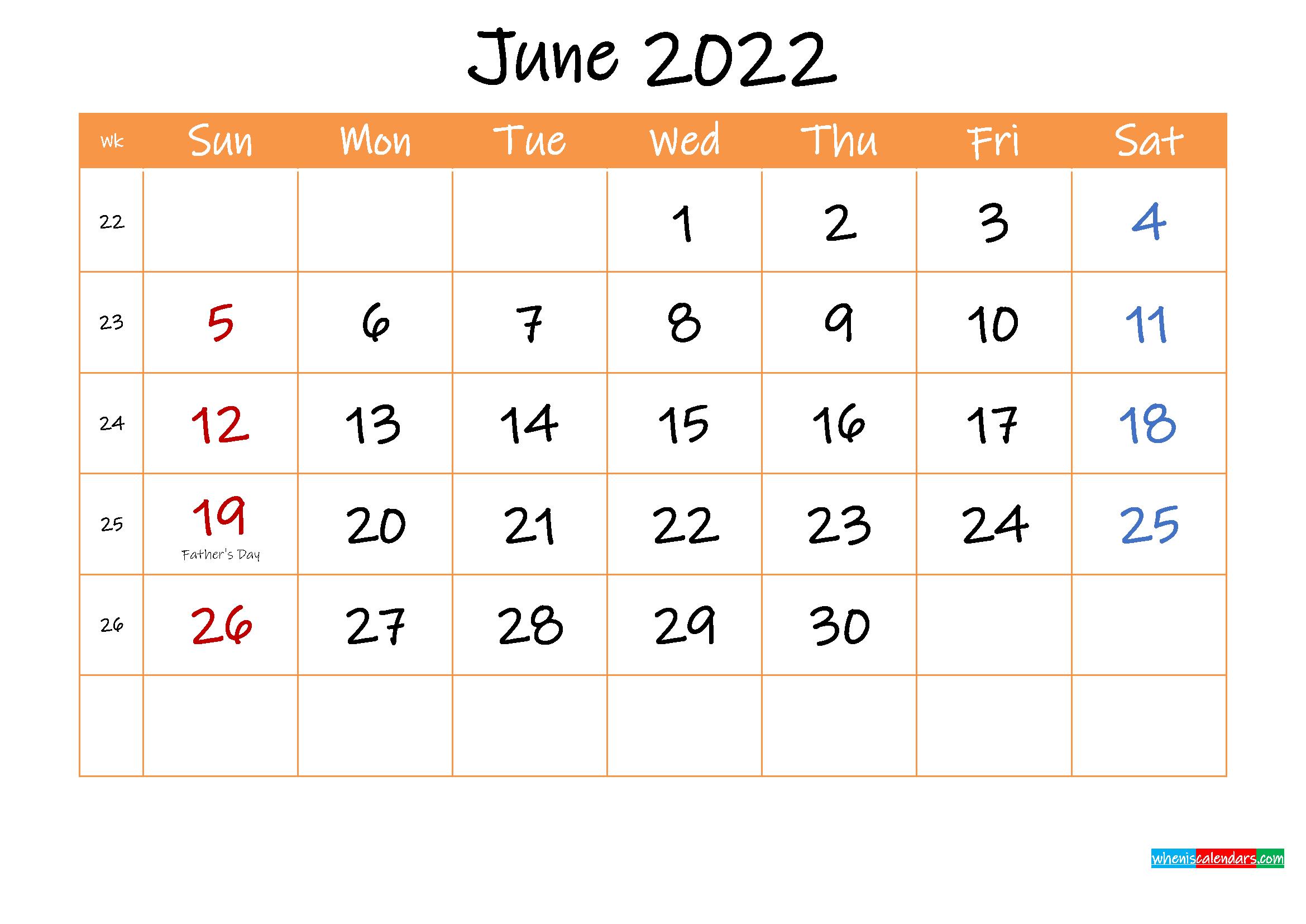 Free Printable Calendar June 2022