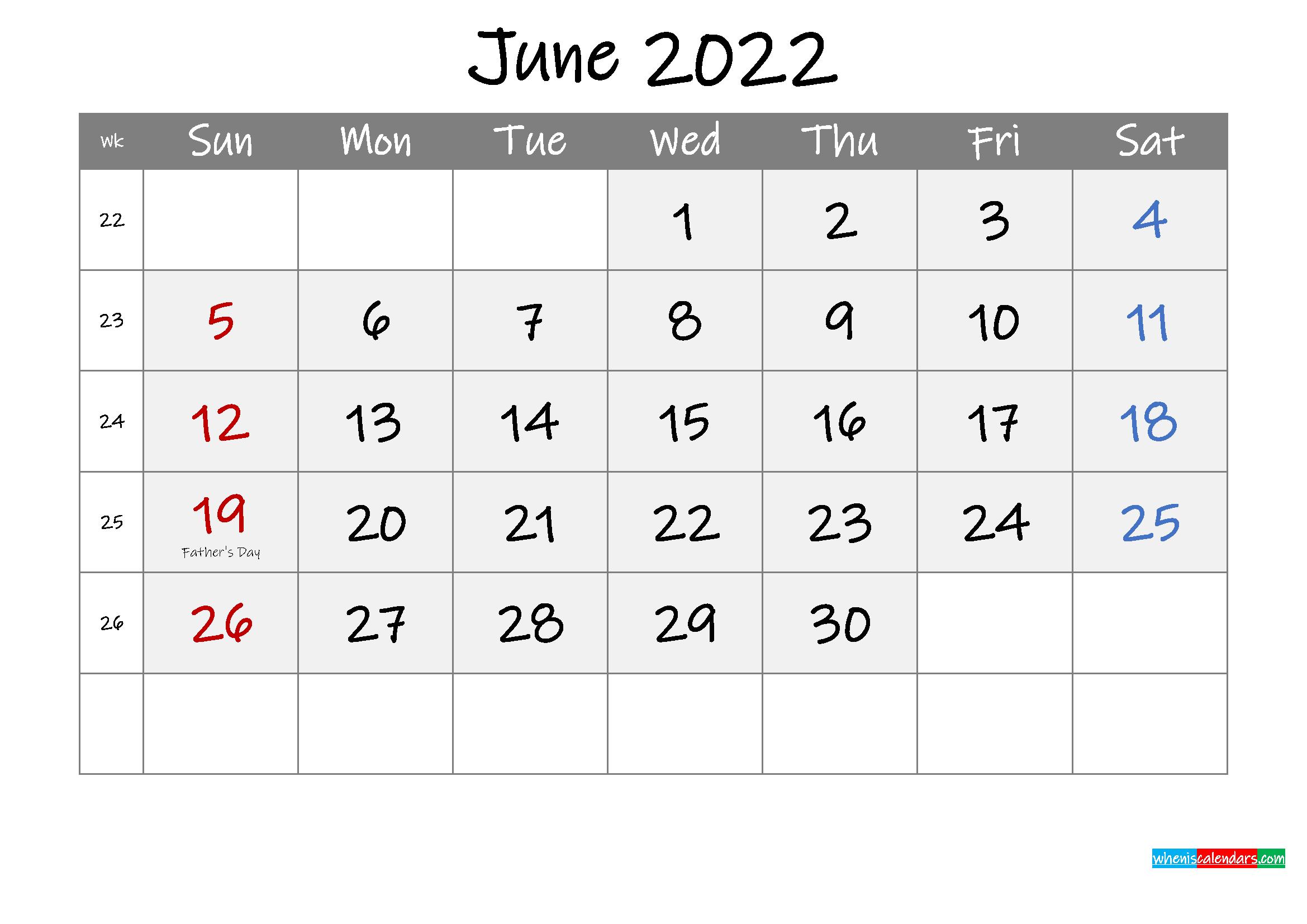 Free Printable June 2022 Calendar with Holidays