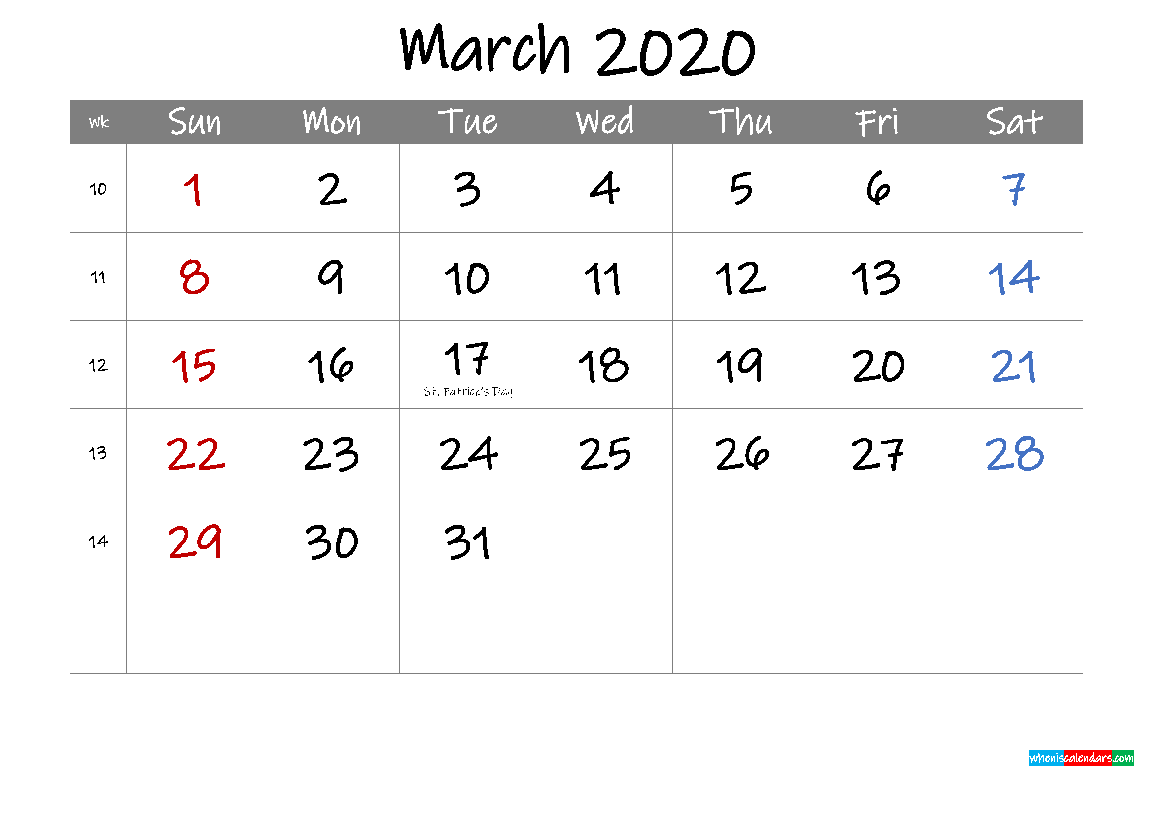 Editable March 2020 Calendar with Holidays