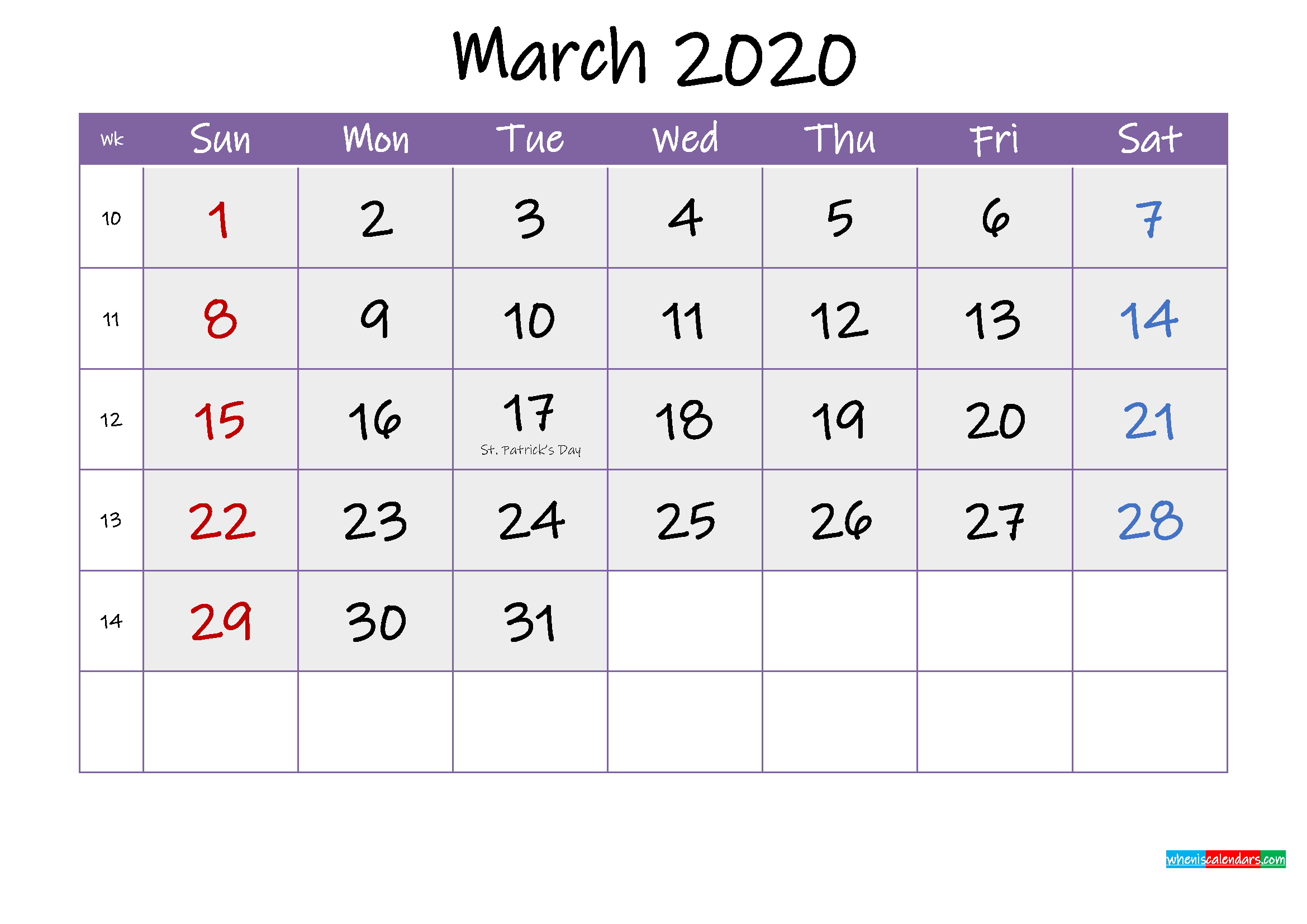 Free March 2020 Printable Calendar with Holidays