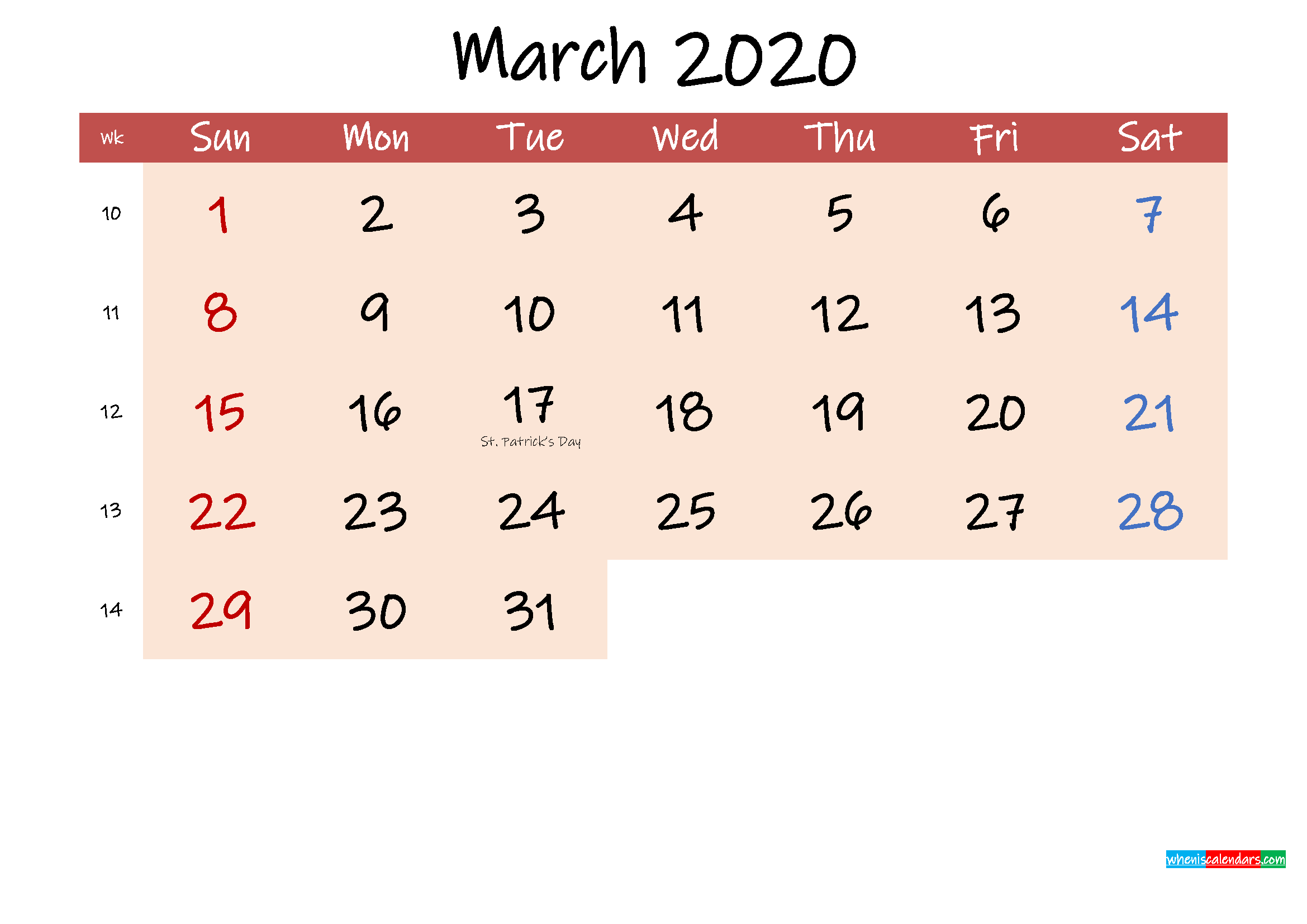 Free Printable Coloring Calendar 2020 March