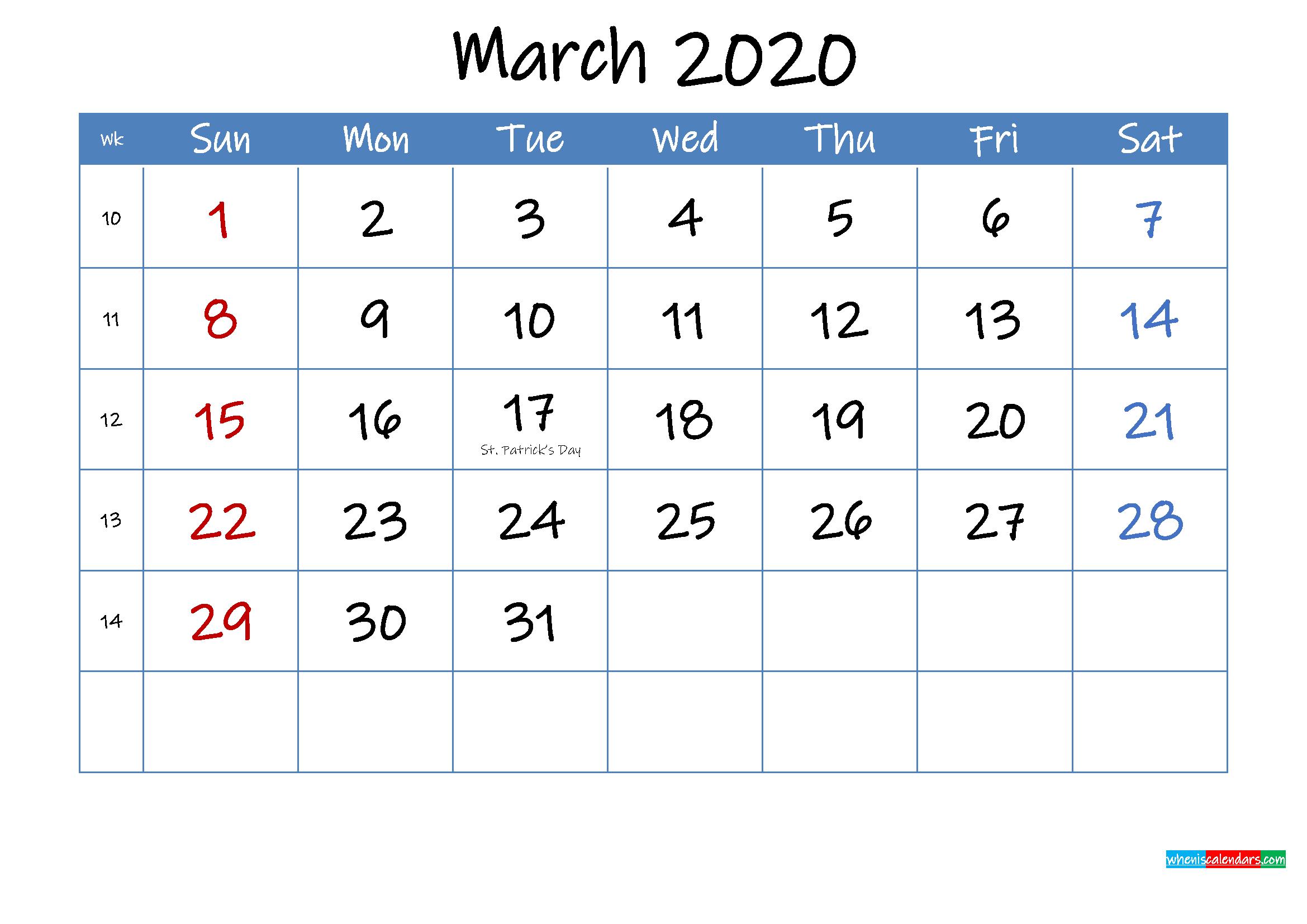 Printable March 2020 Calendar Word