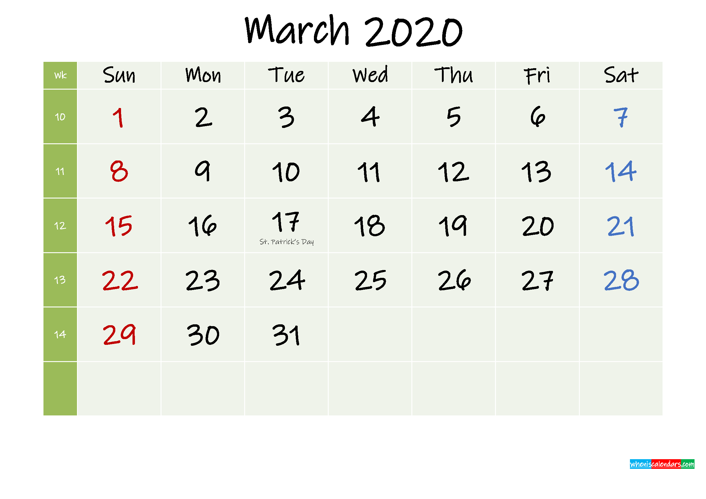 March 2020 Calendar with Holidays Printable