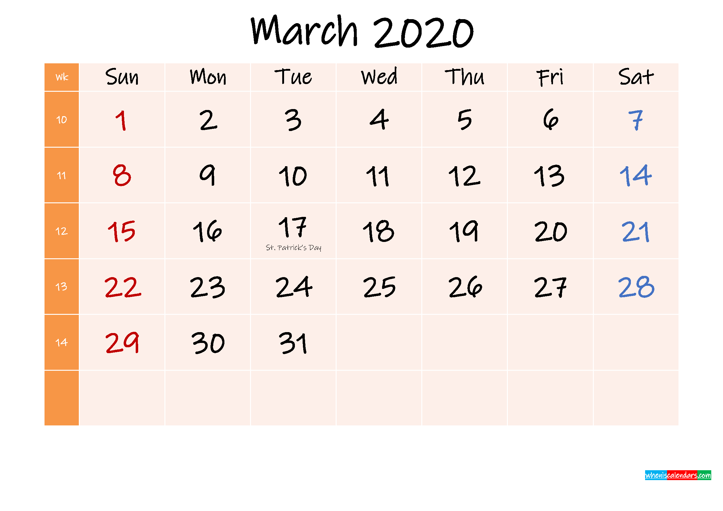 Free Printable March 2020 Calendar with Holidays
