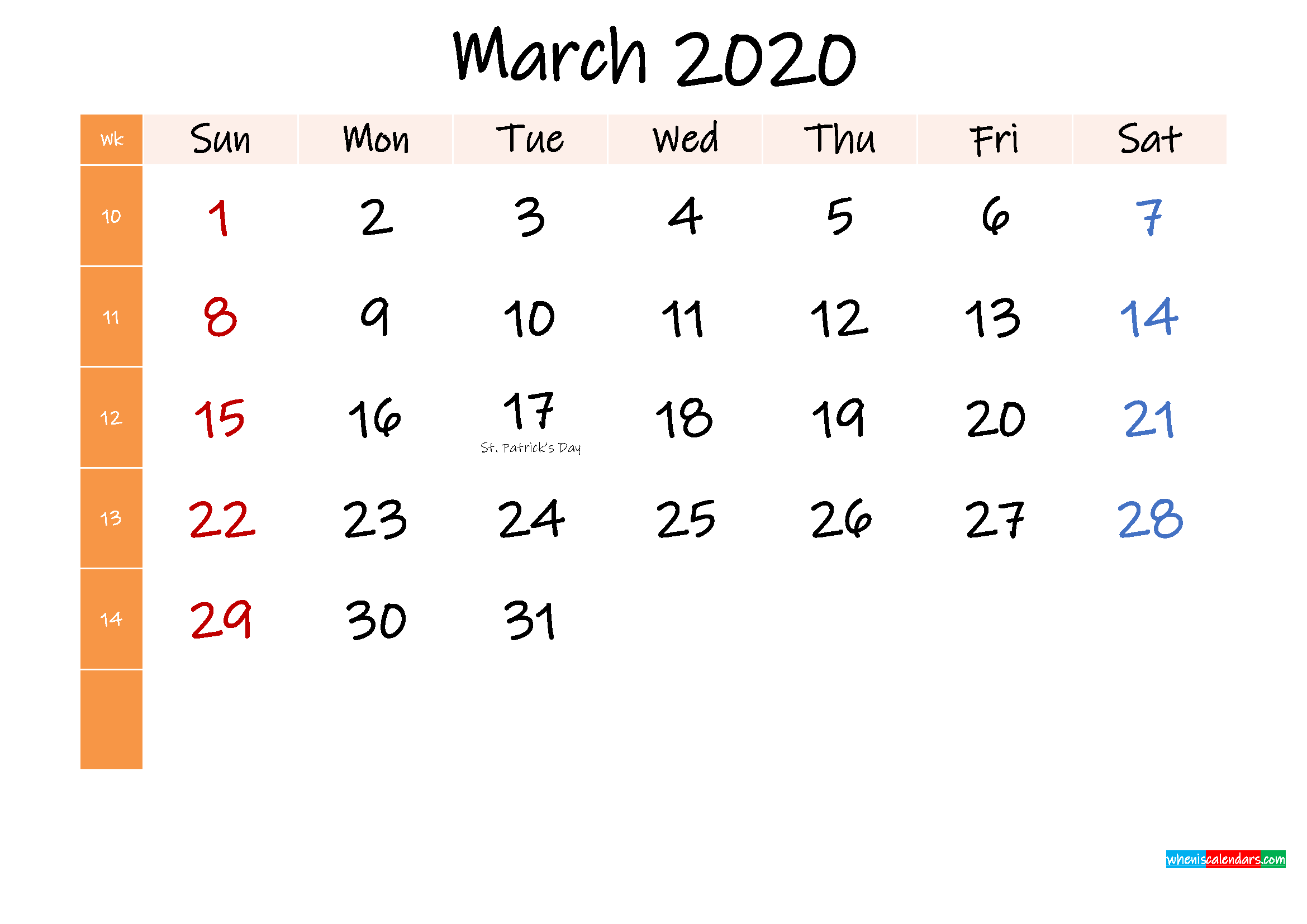 Free March 2020 Monthly Calendar Template Word