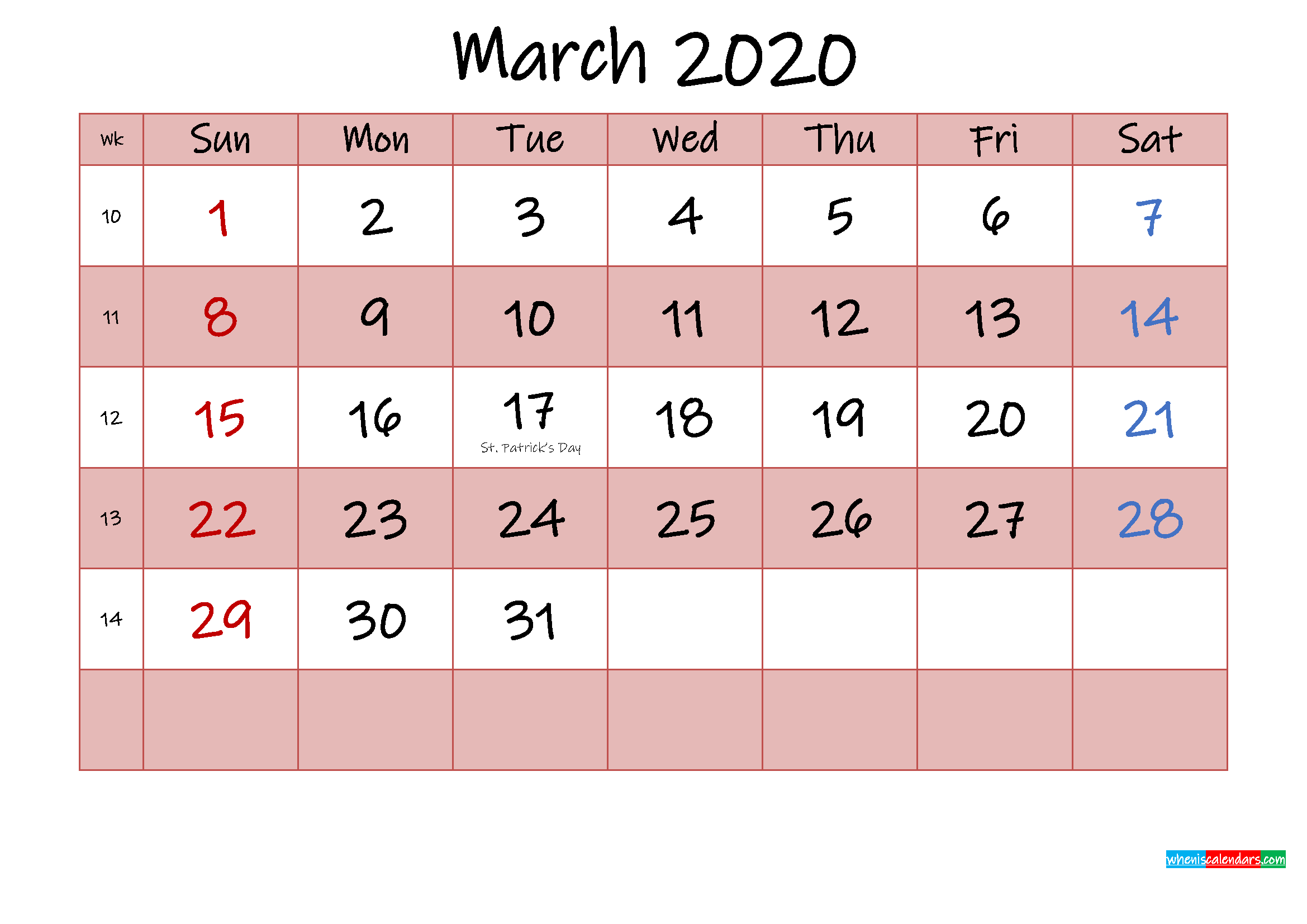 Free Printable Coloring Calendar 2020 March