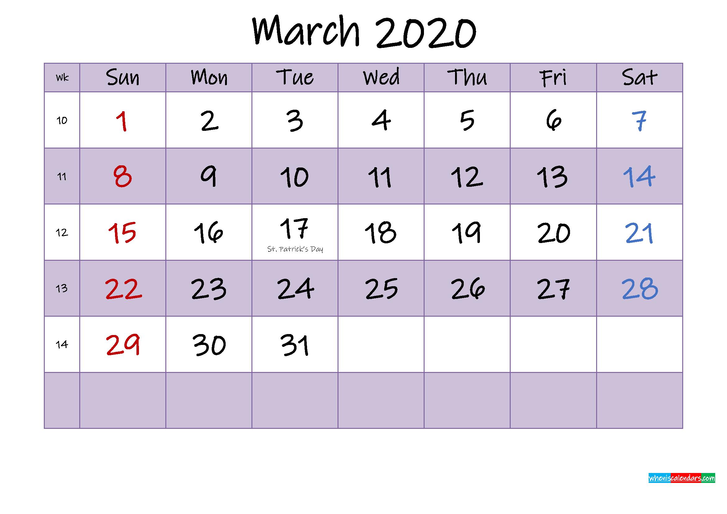 Editable March 2020 Calendar