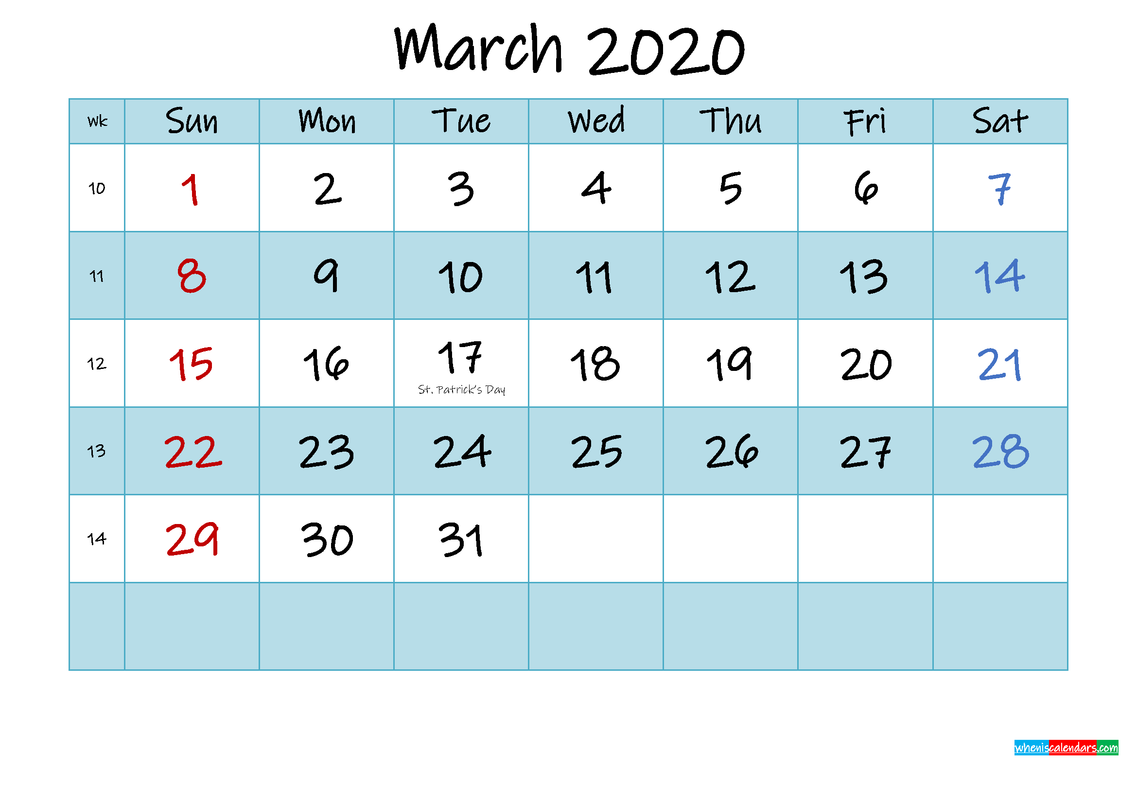 Printable March 2020 Calendar Word