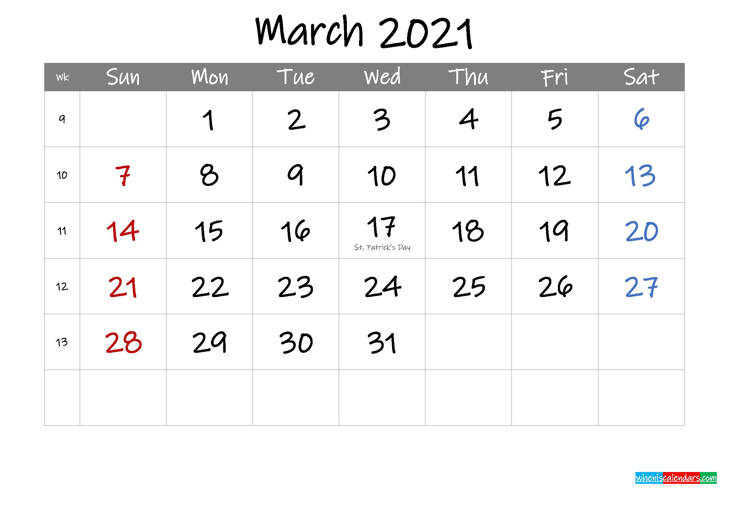 Editable March 2021 Calendar with Holidays