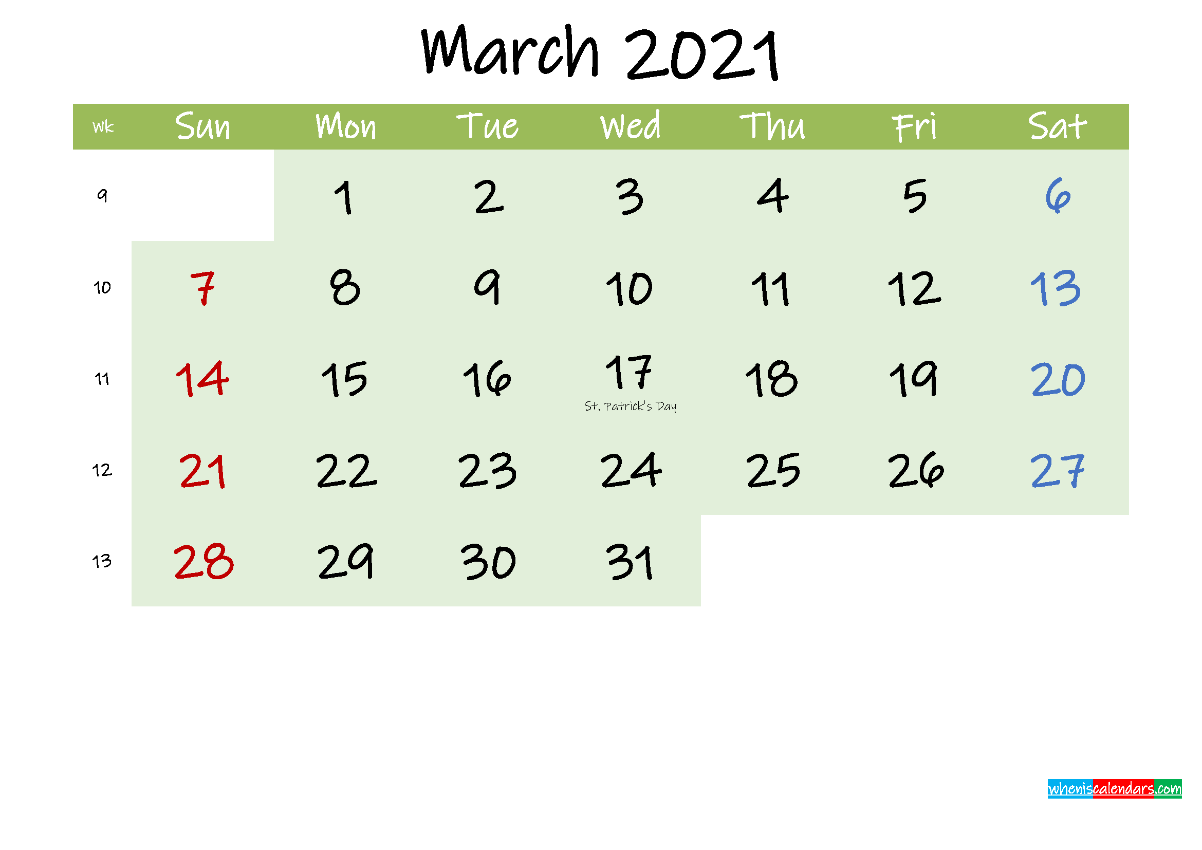 March 2021 Calendar with Holidays Printable
