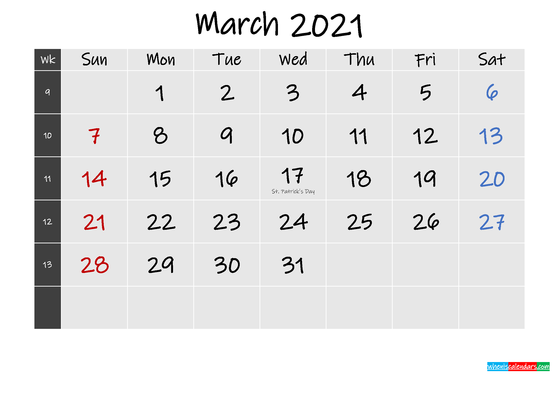 Printable March 2021 Calendar Word