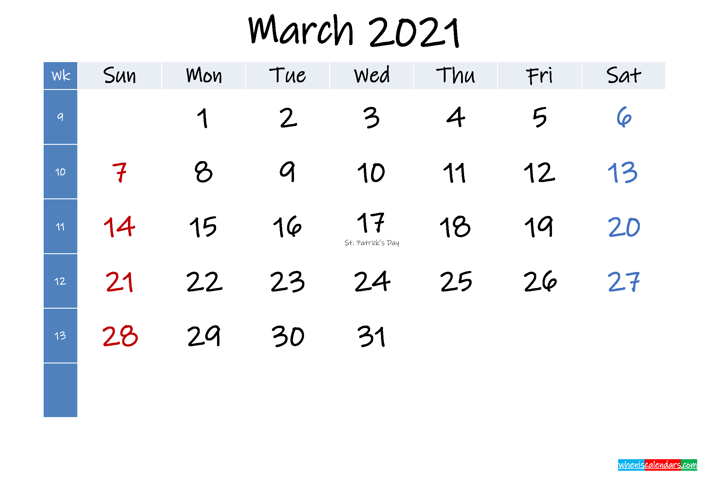 March 2021 Free Printable Calendar with Holidays