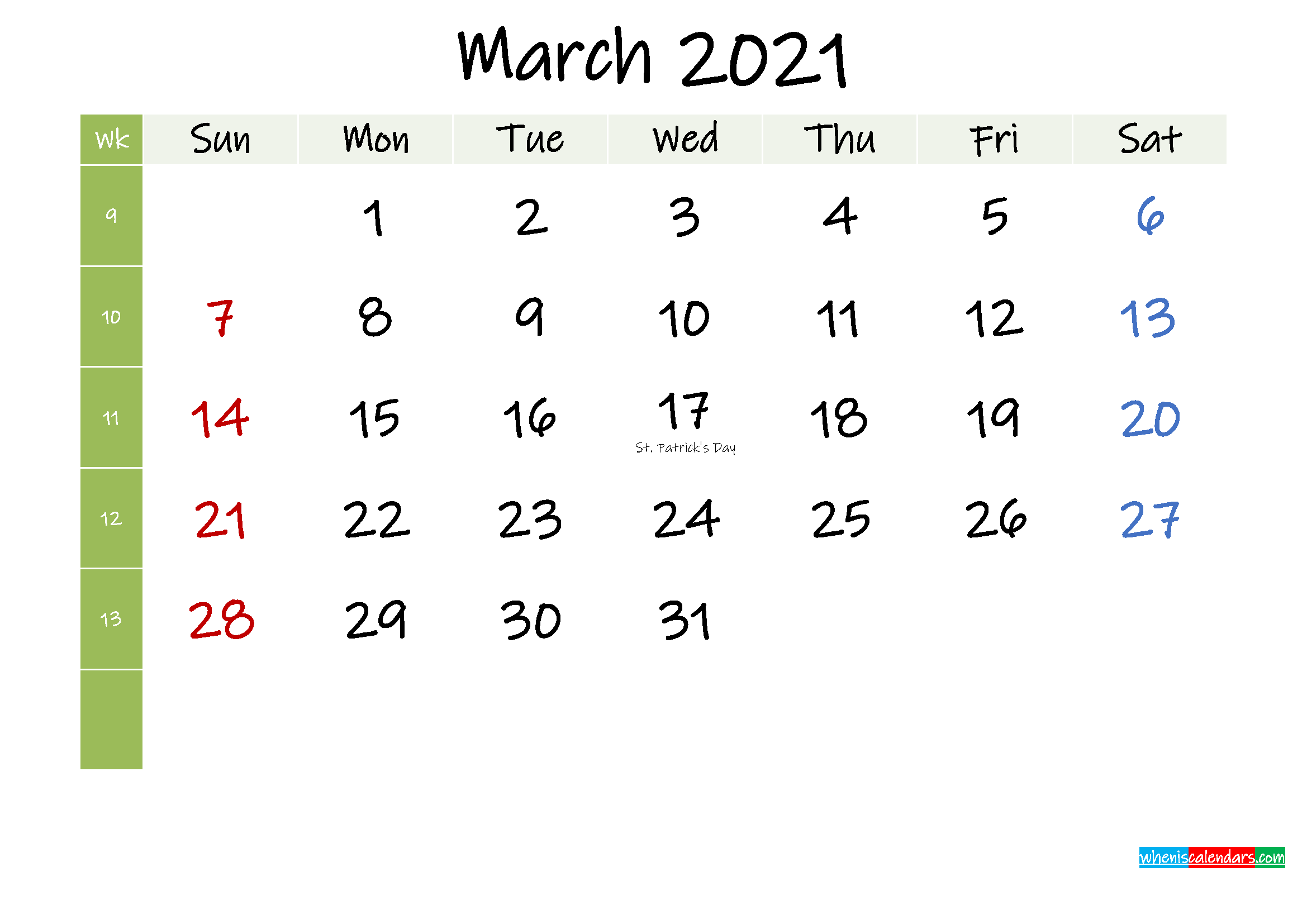 Free March 2021 Printable Calendar with Holidays