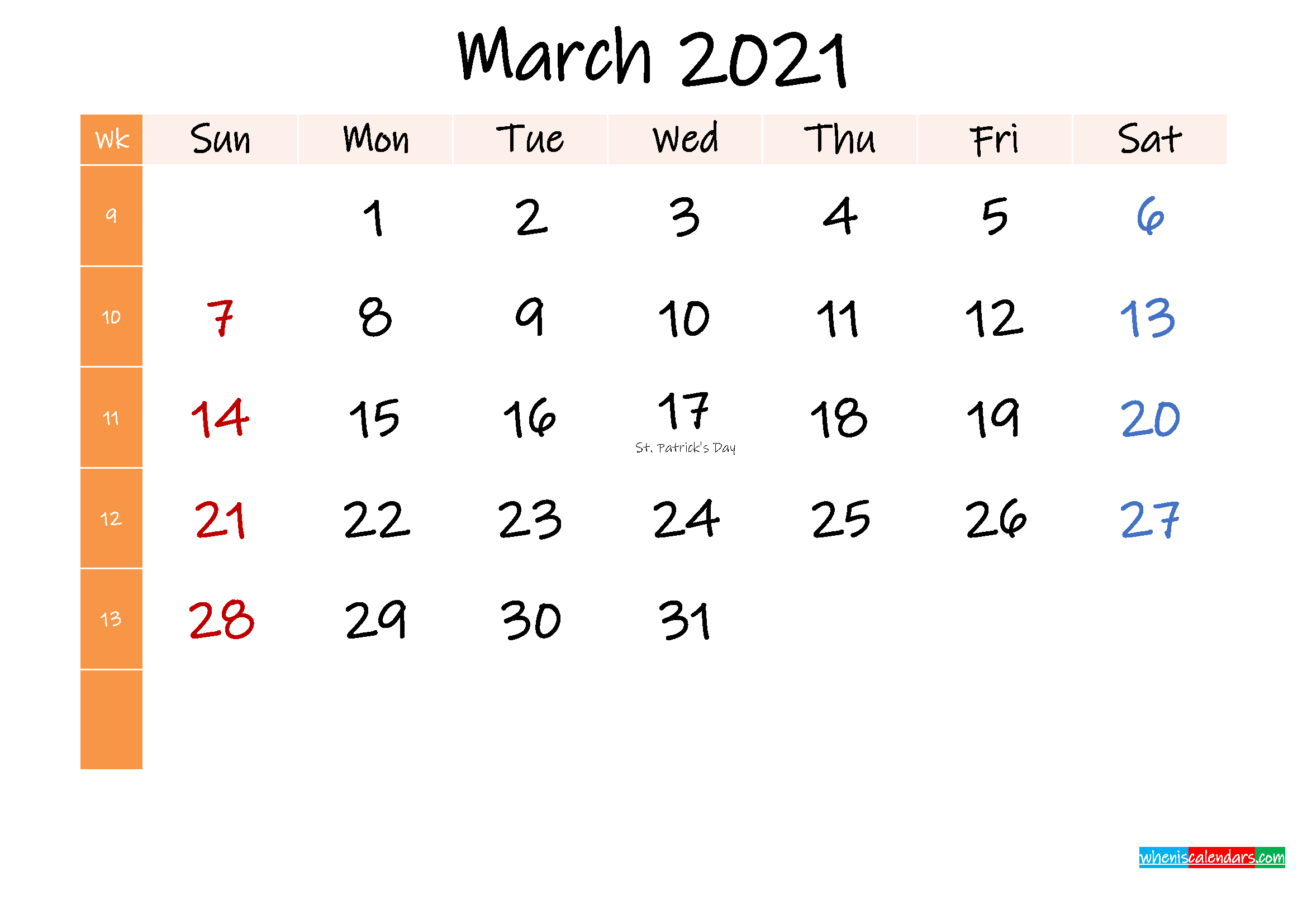 Free March 2021 Monthly Calendar Template Word