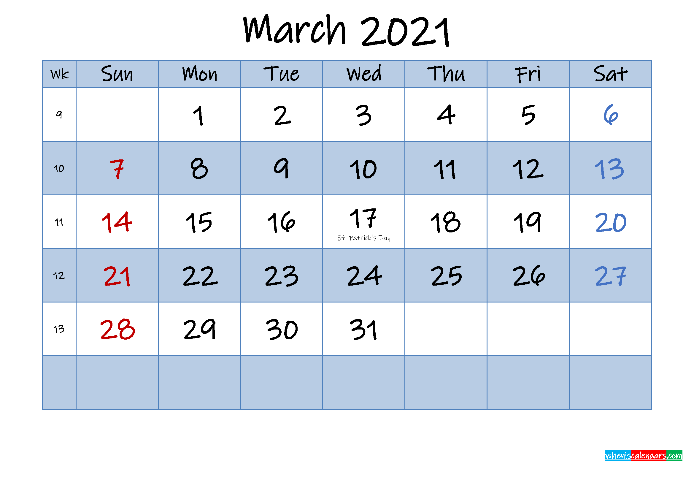 Free March 2021 Monthly Calendar PDF