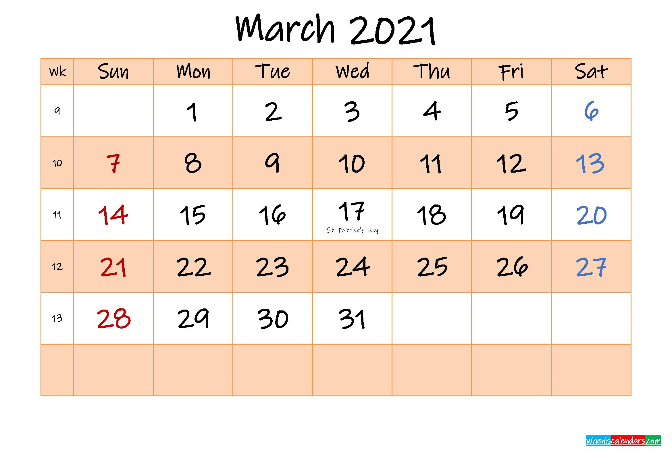 Editable March 2021 Calendar