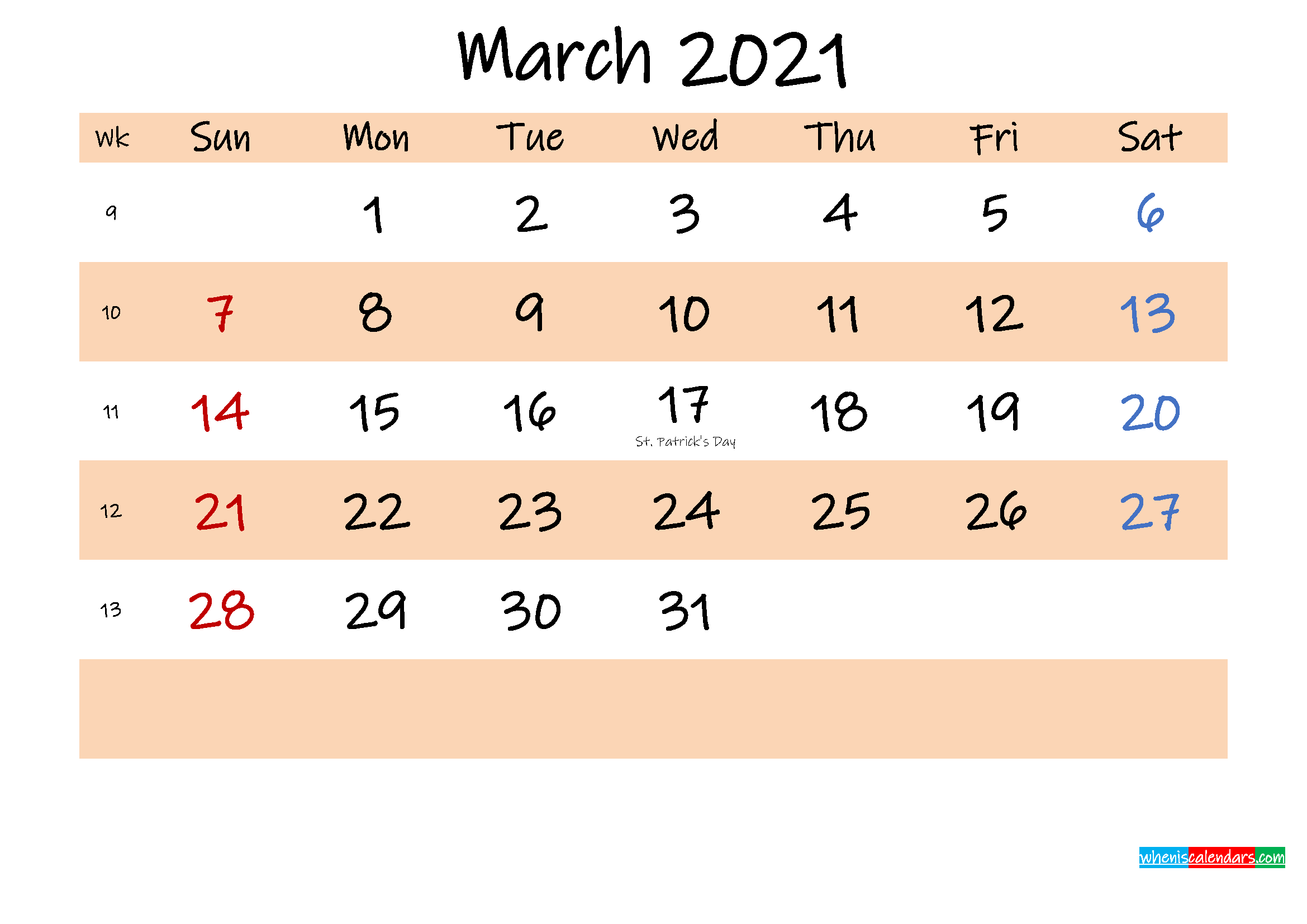 Printable Calendar March 2021 - Template No.ink21m555 ...