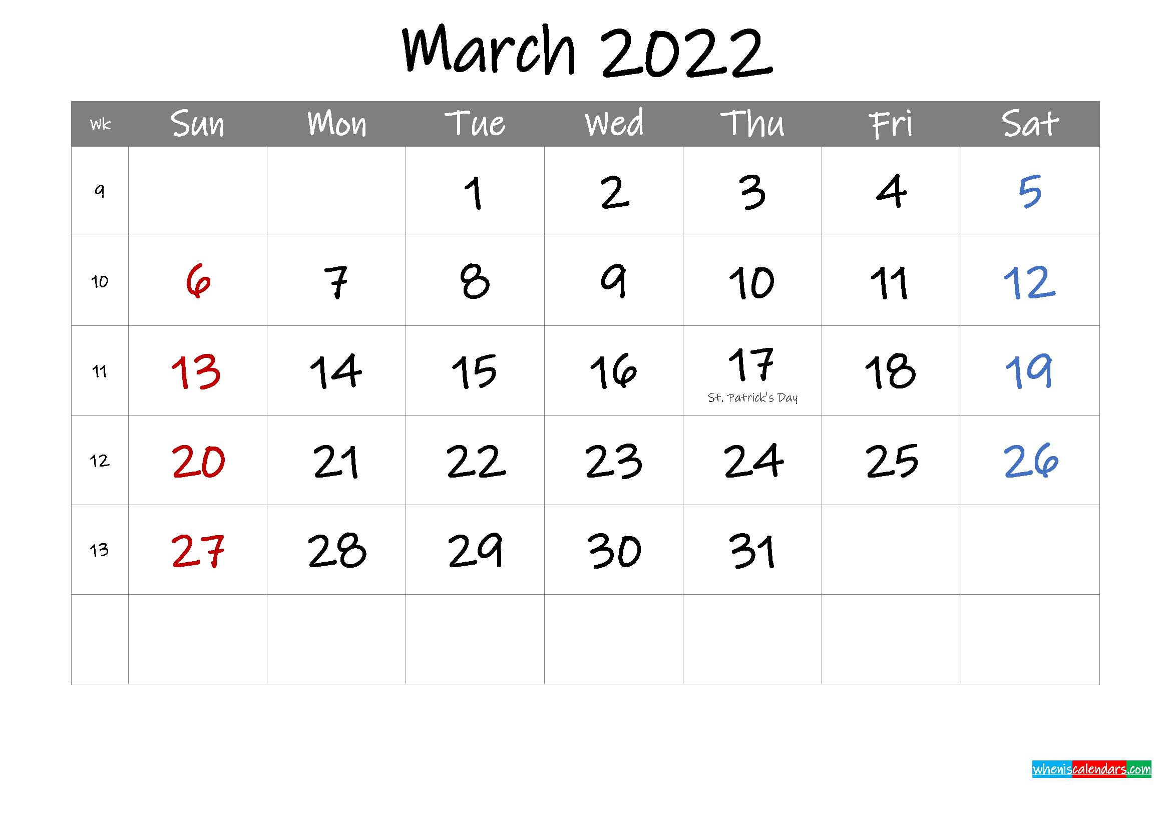 Editable March 2022 Calendar with Holidays