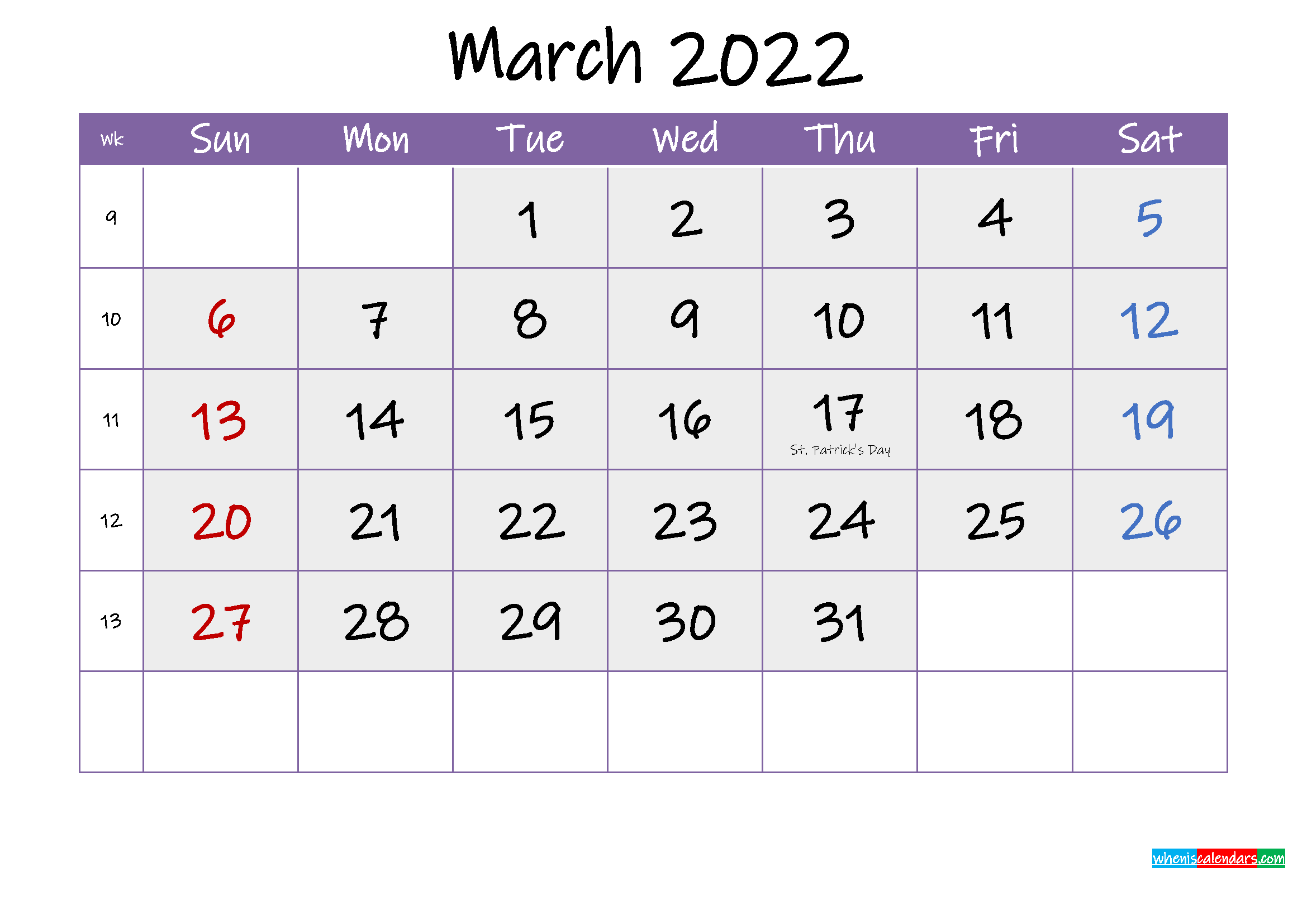 Free March 2022 Printable Calendar with Holidays