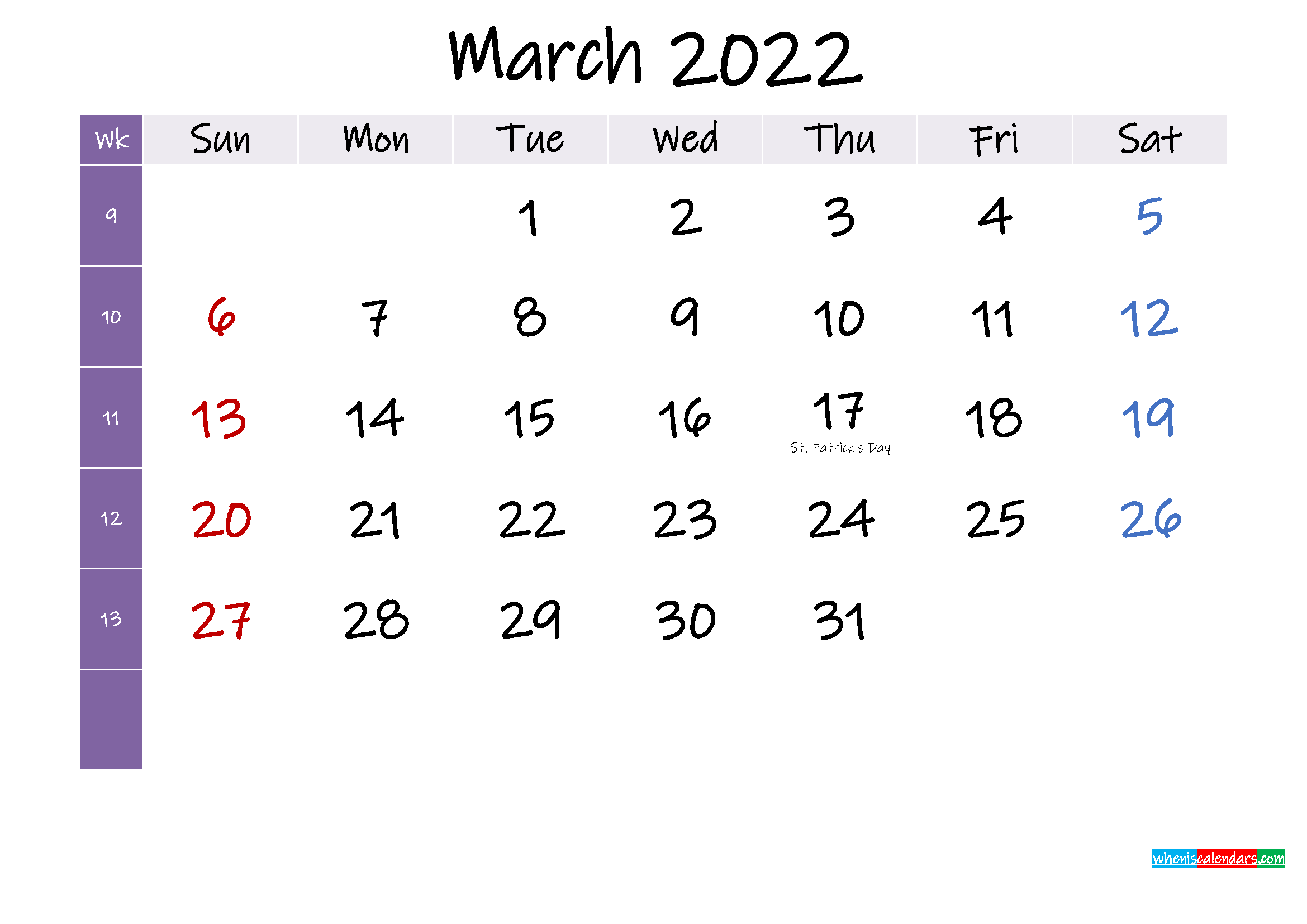 March 2022 Free Printable Calendar with Holidays