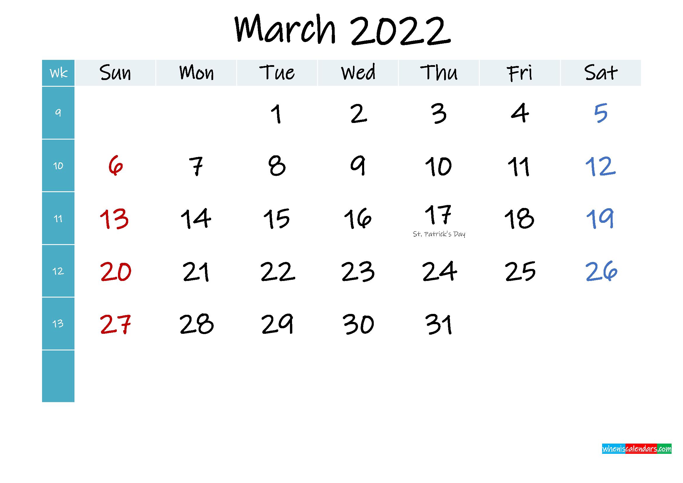 March 2022 Free Printable Calendar