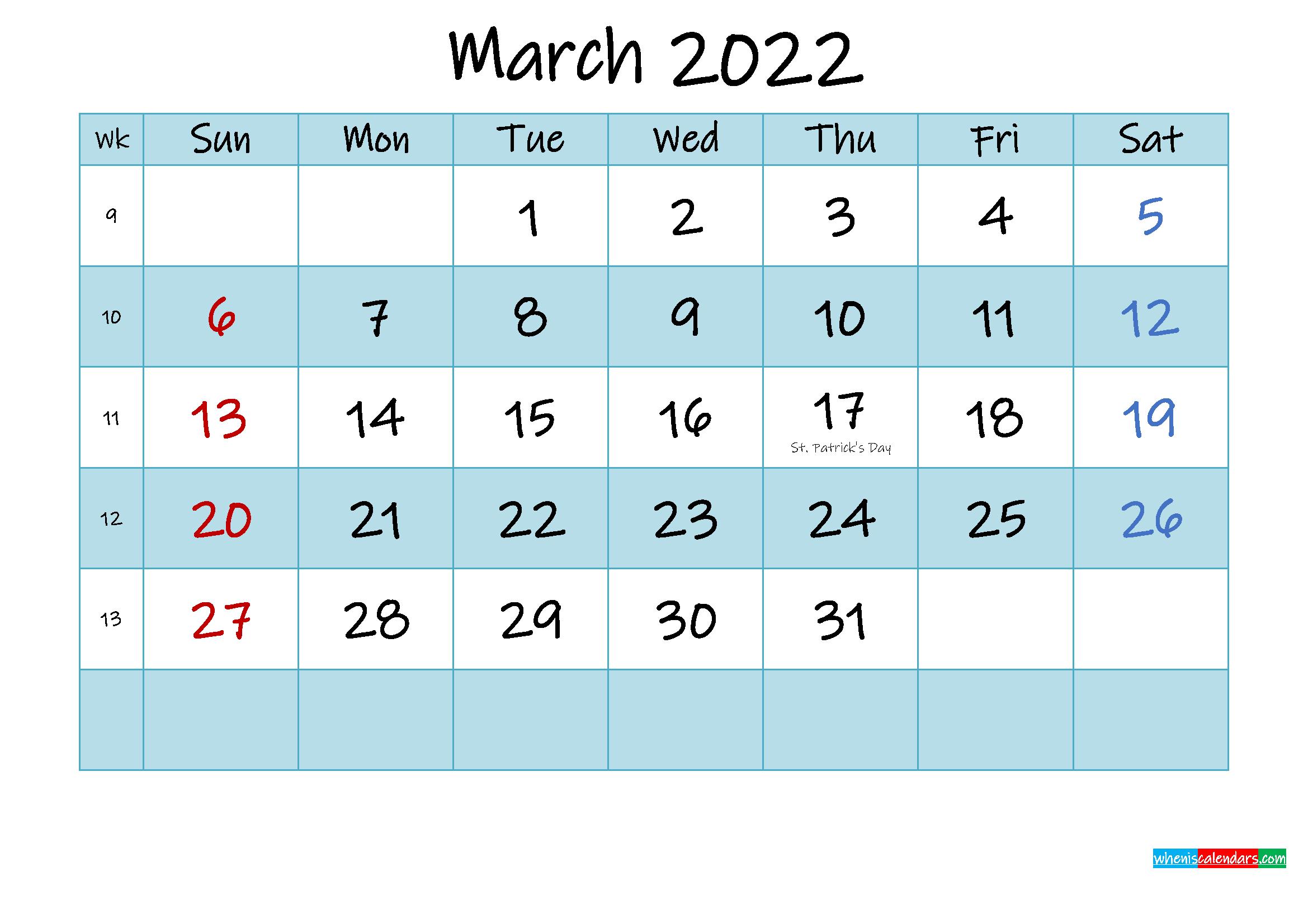 Printable March 2022 Calendar Word