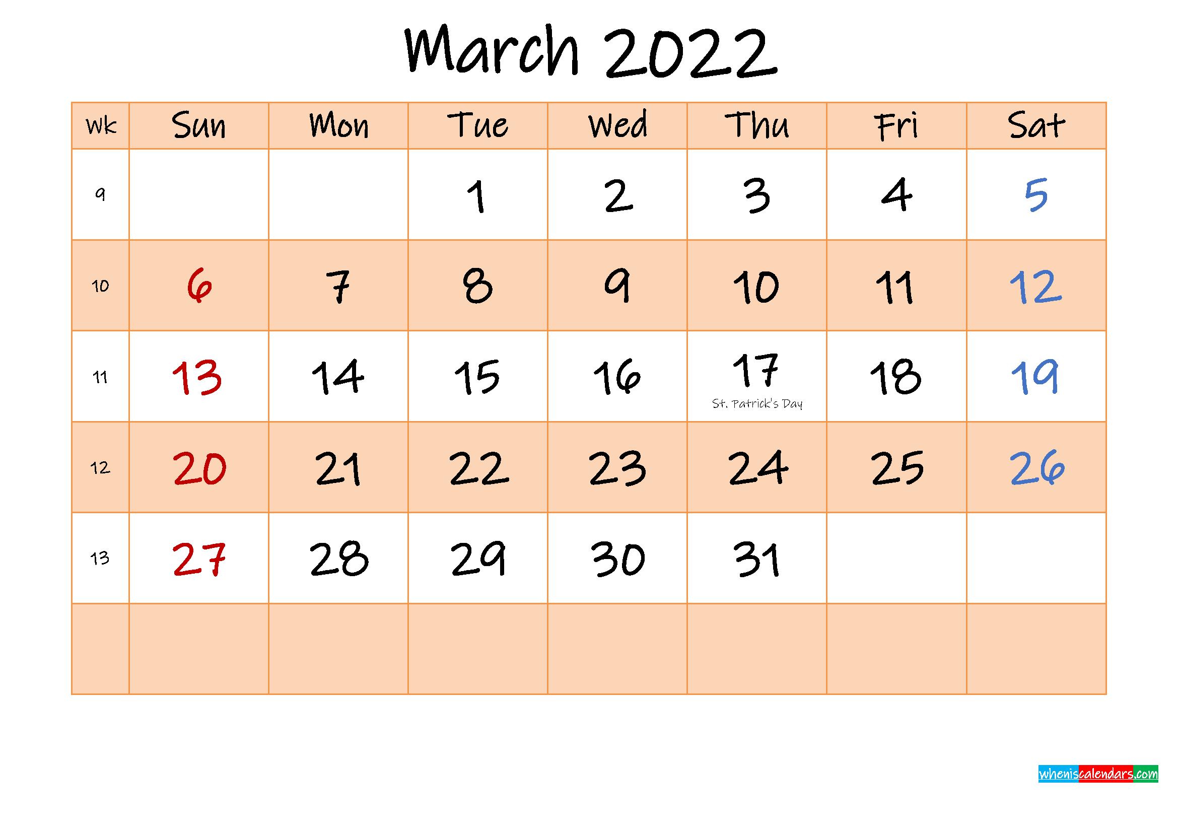 Editable March 2022 Calendar