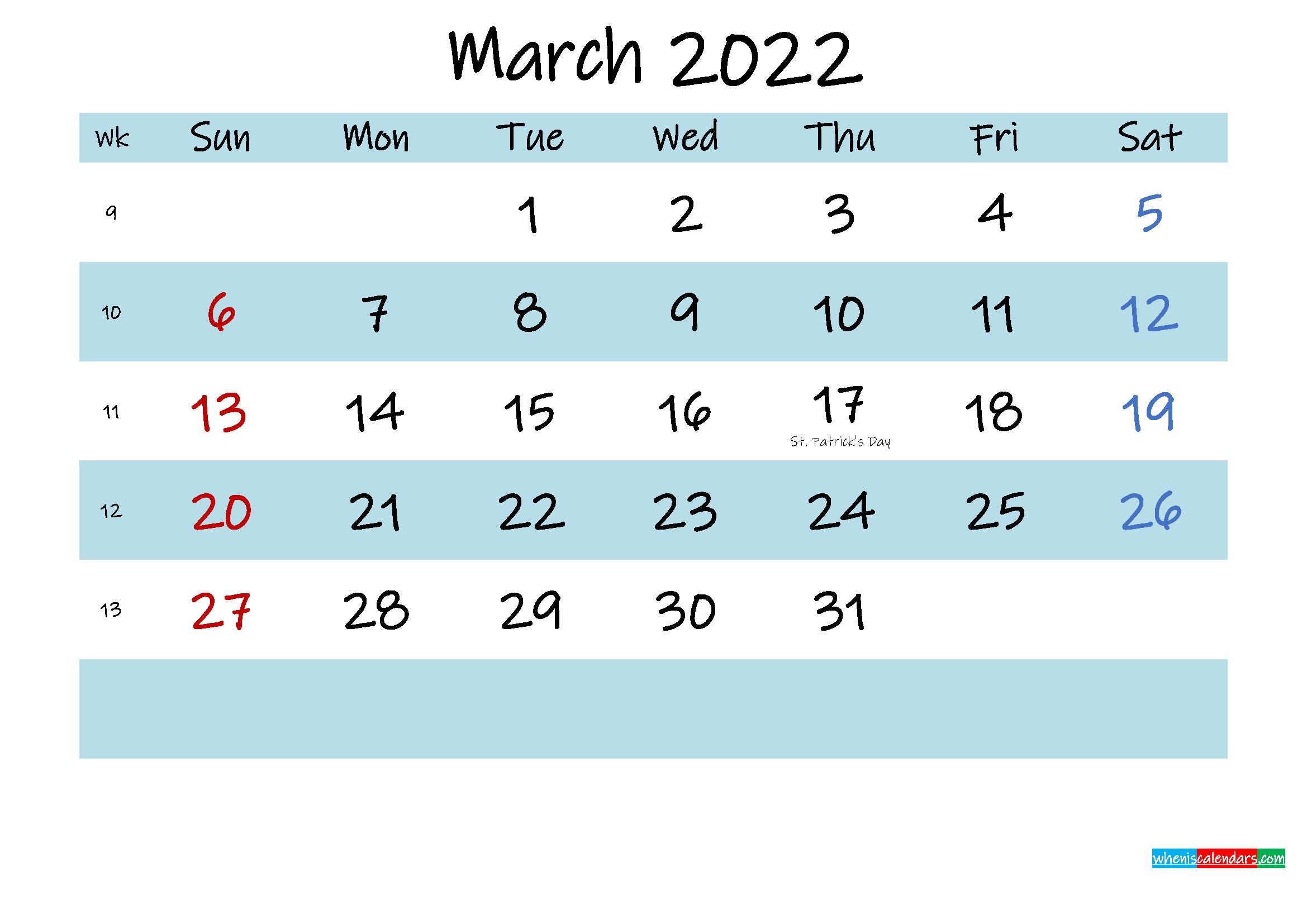Printable March 2022 Calendar PDF