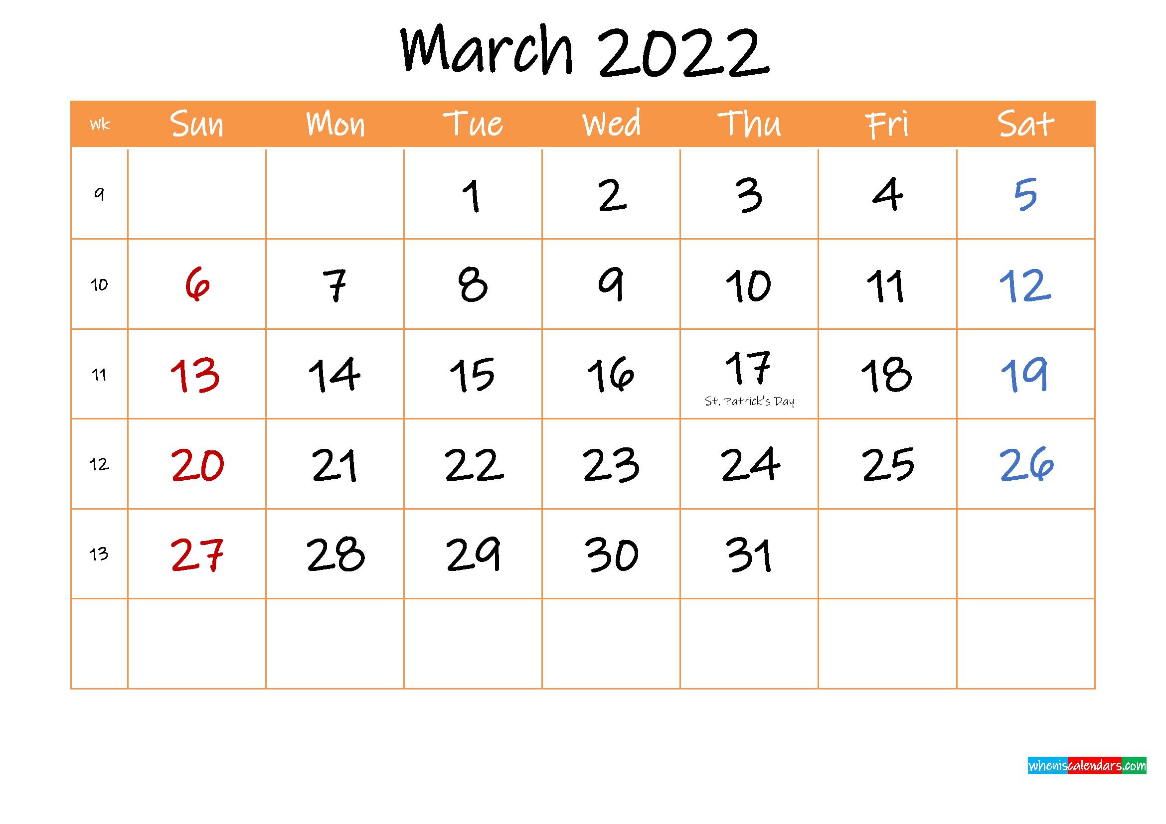 Free Printable Calendar March 2022