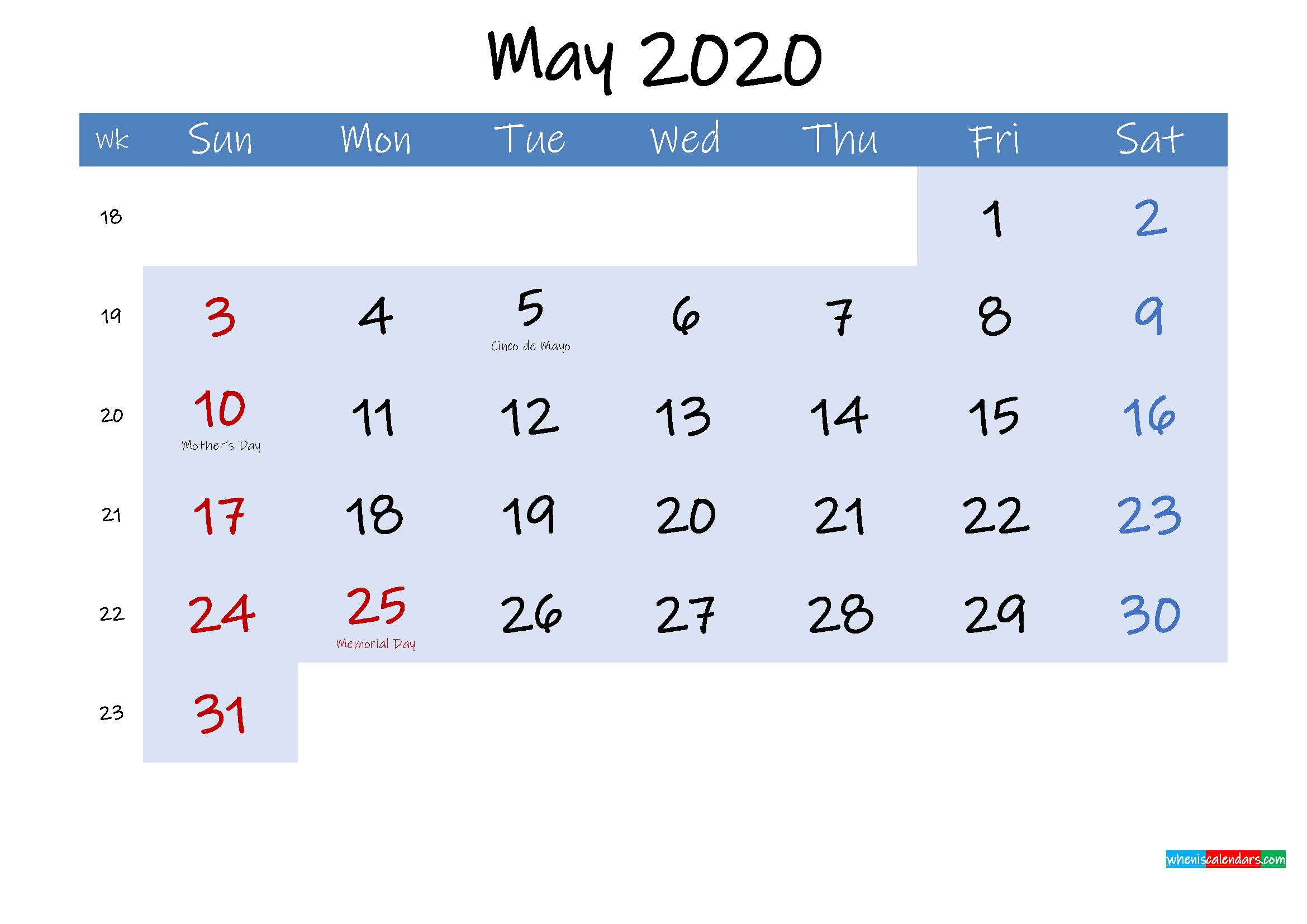 Free May 2020 Monthly Calendar PDF