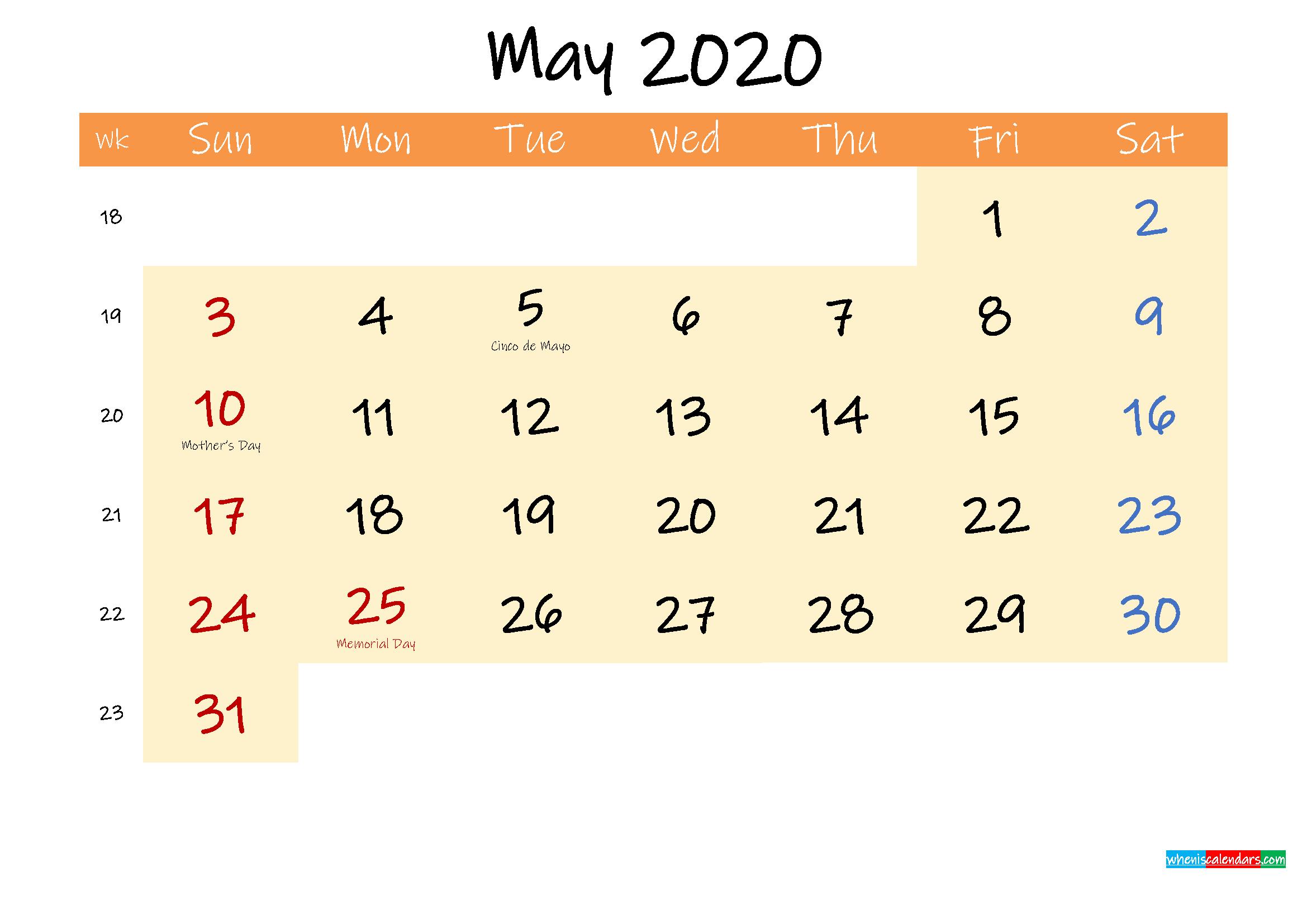 Editable May 2020 Calendar