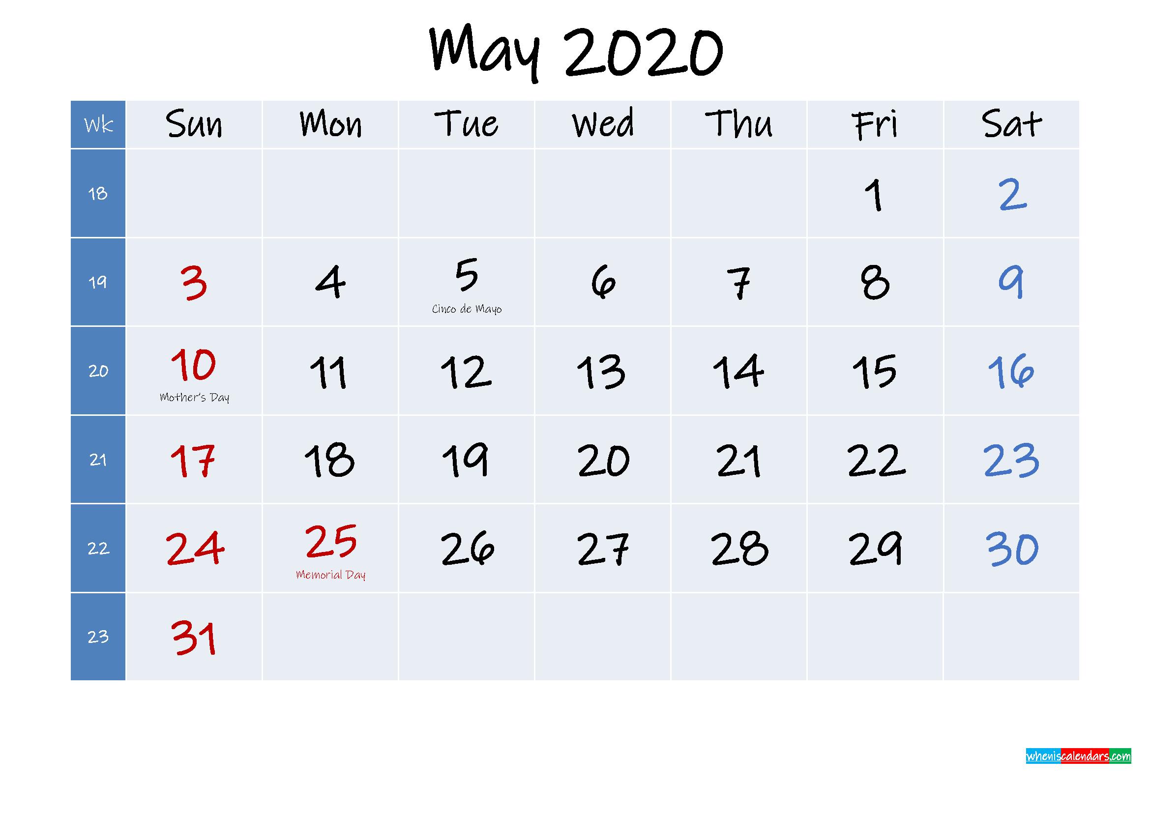 Printable May 2020 Calendar with Holidays
