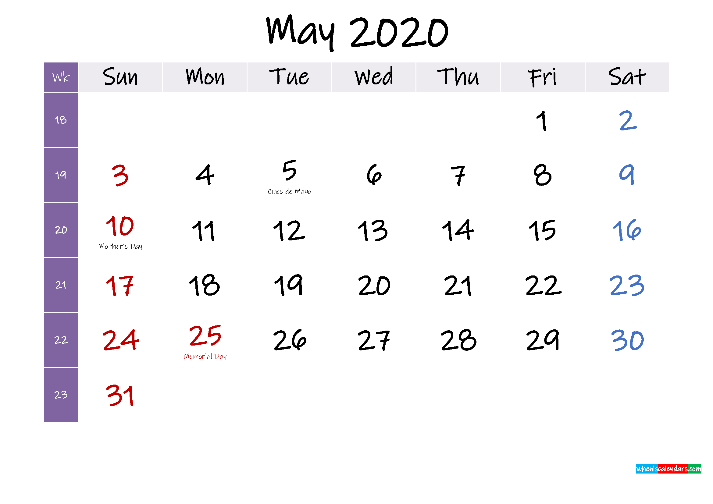 May 2020 Free Printable Calendar with Holidays