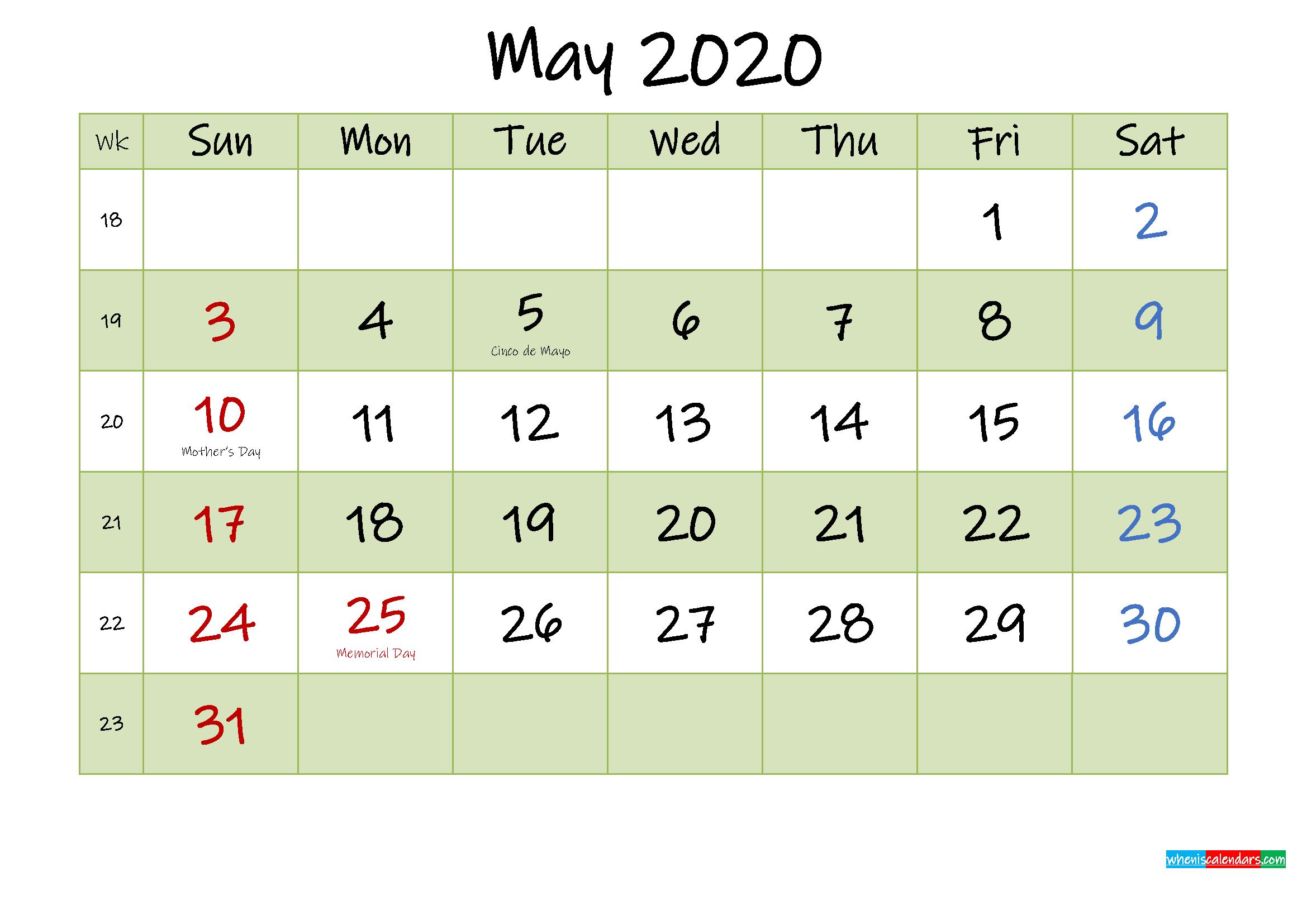 May 2020 Calendar with Holidays Printable
