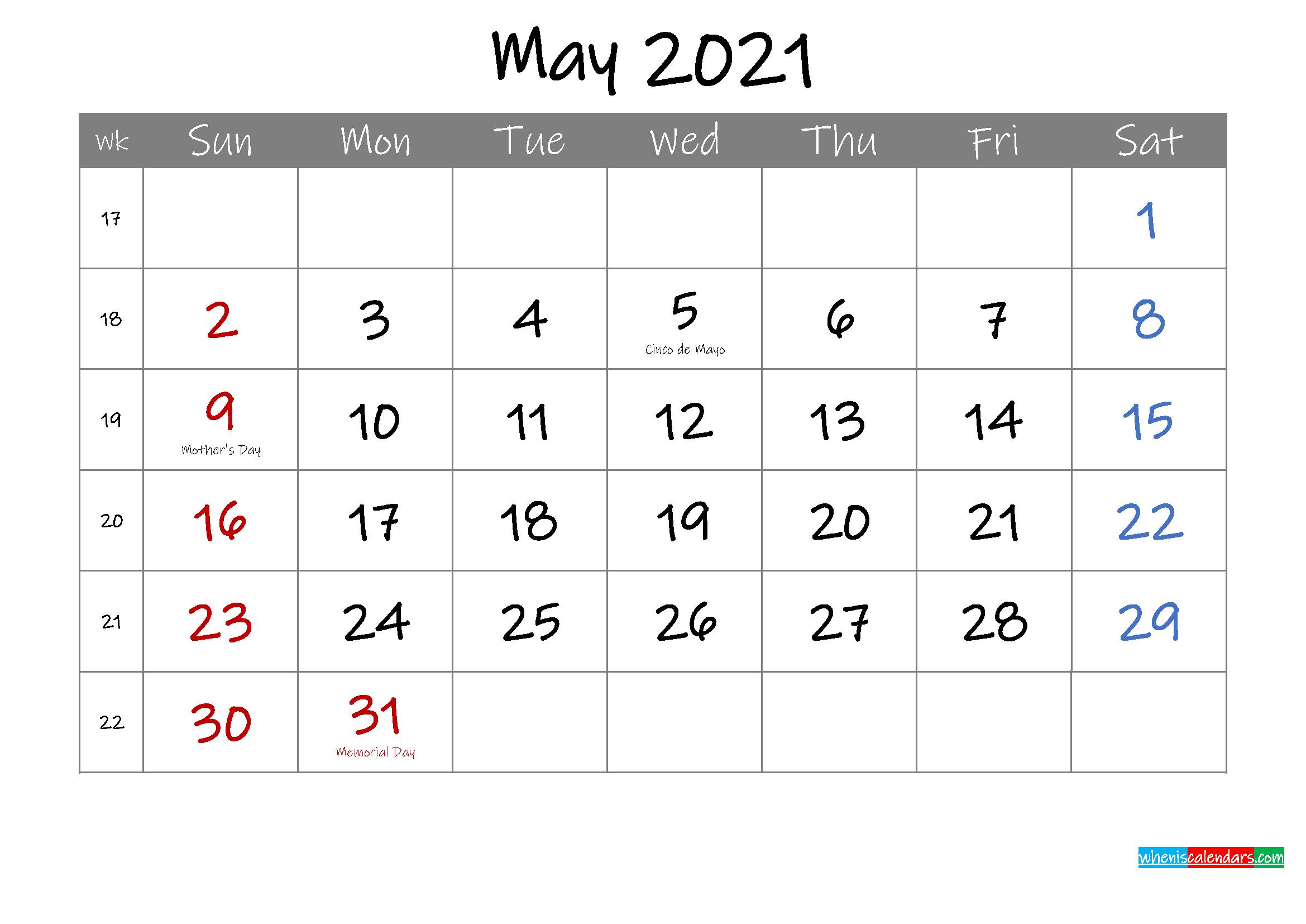 Editable May 2021 Calendar with Holidays