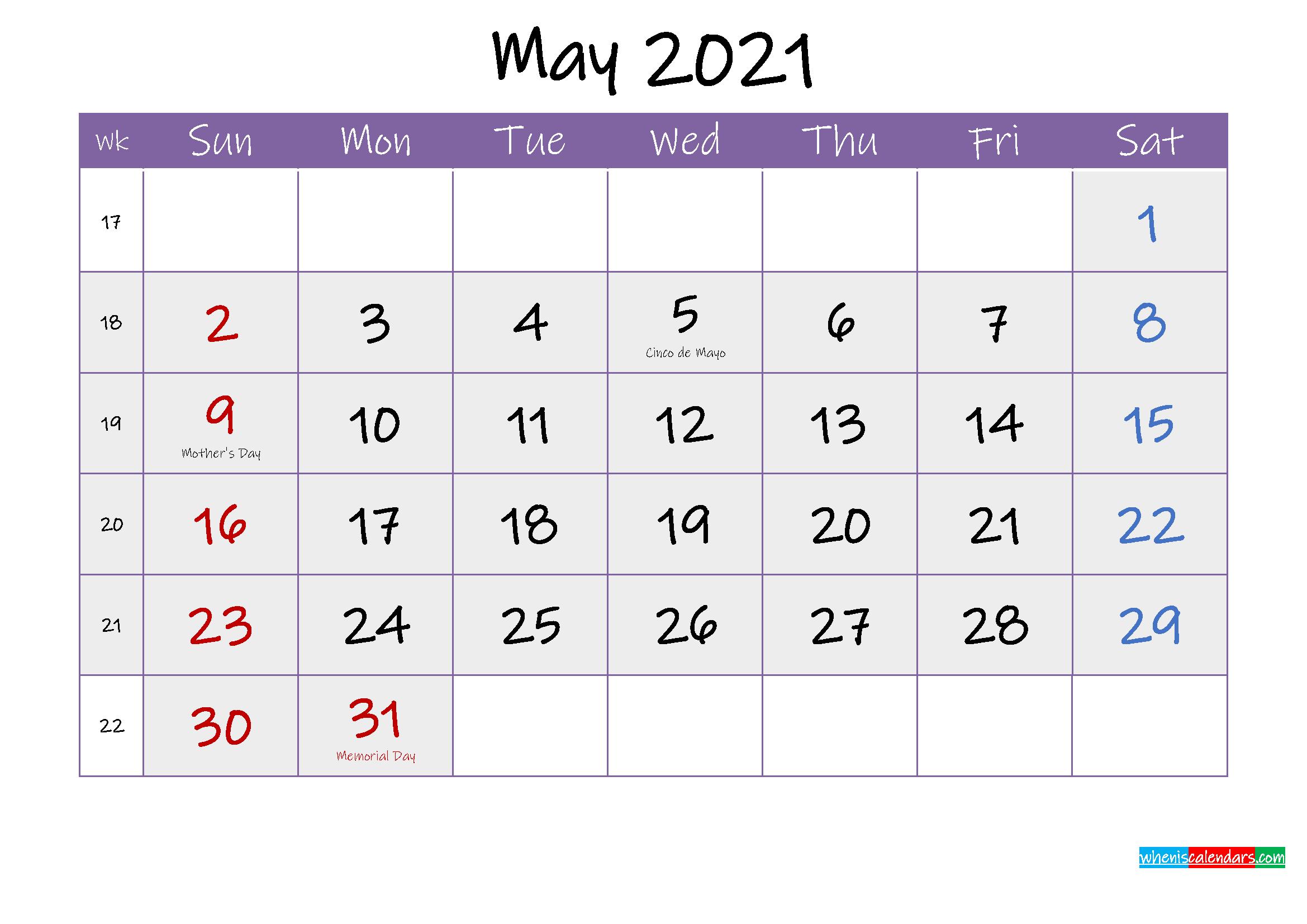 Free May 2021 Printable Calendar with Holidays