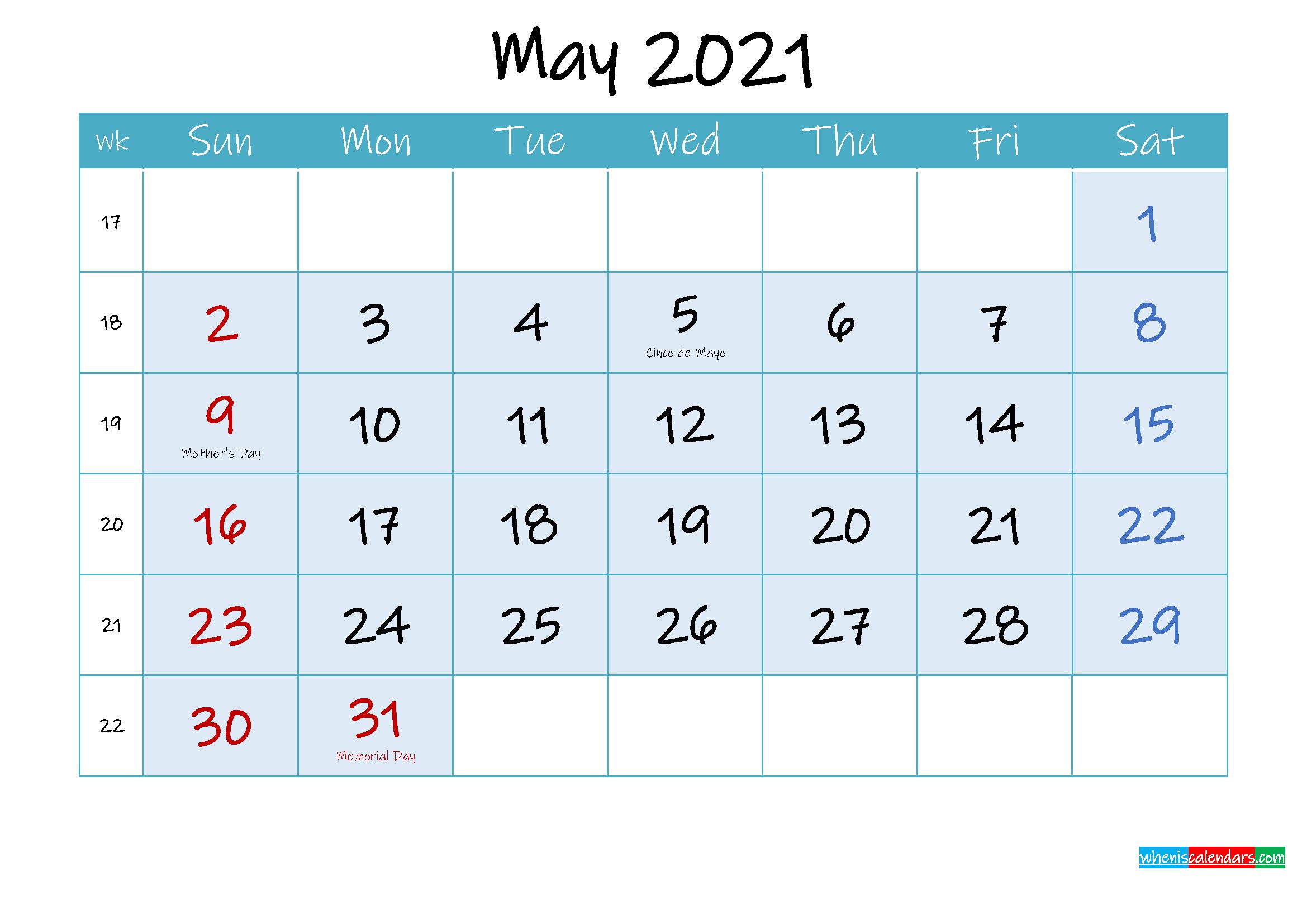 May 2021 Free Printable Calendar with Holidays