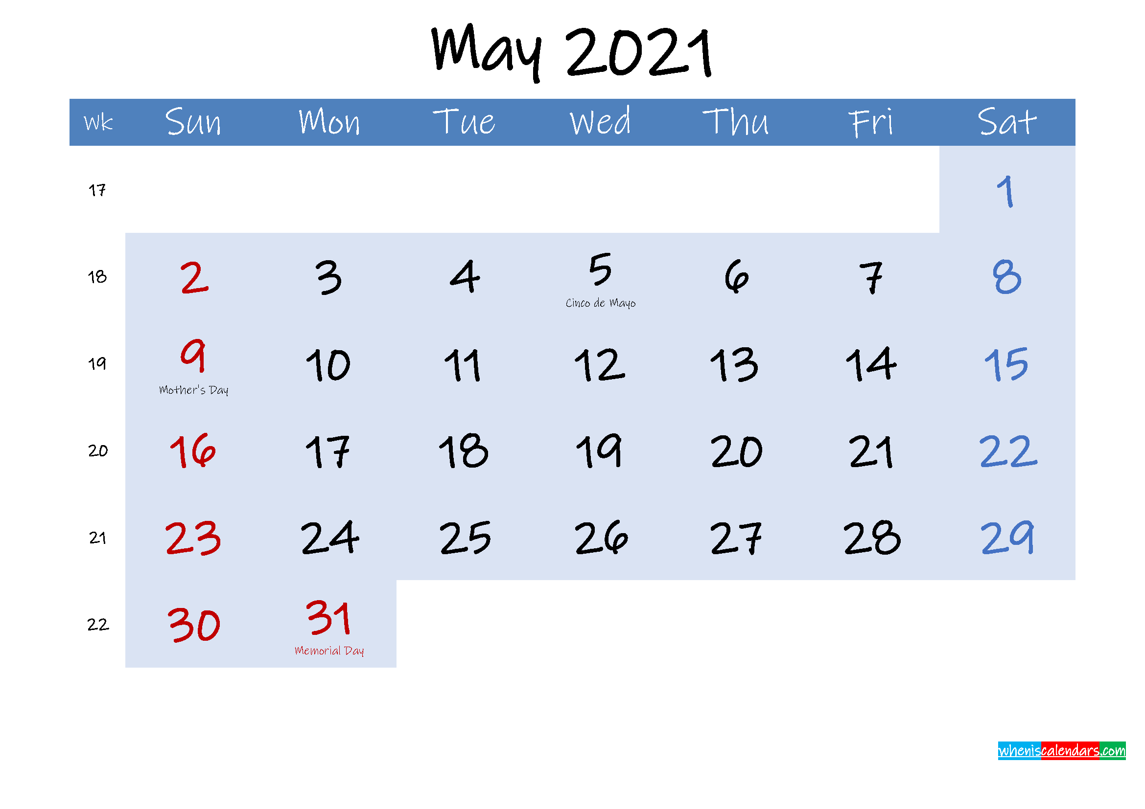 Free May 2021 Monthly Calendar PDF - Template ink21m185 ...