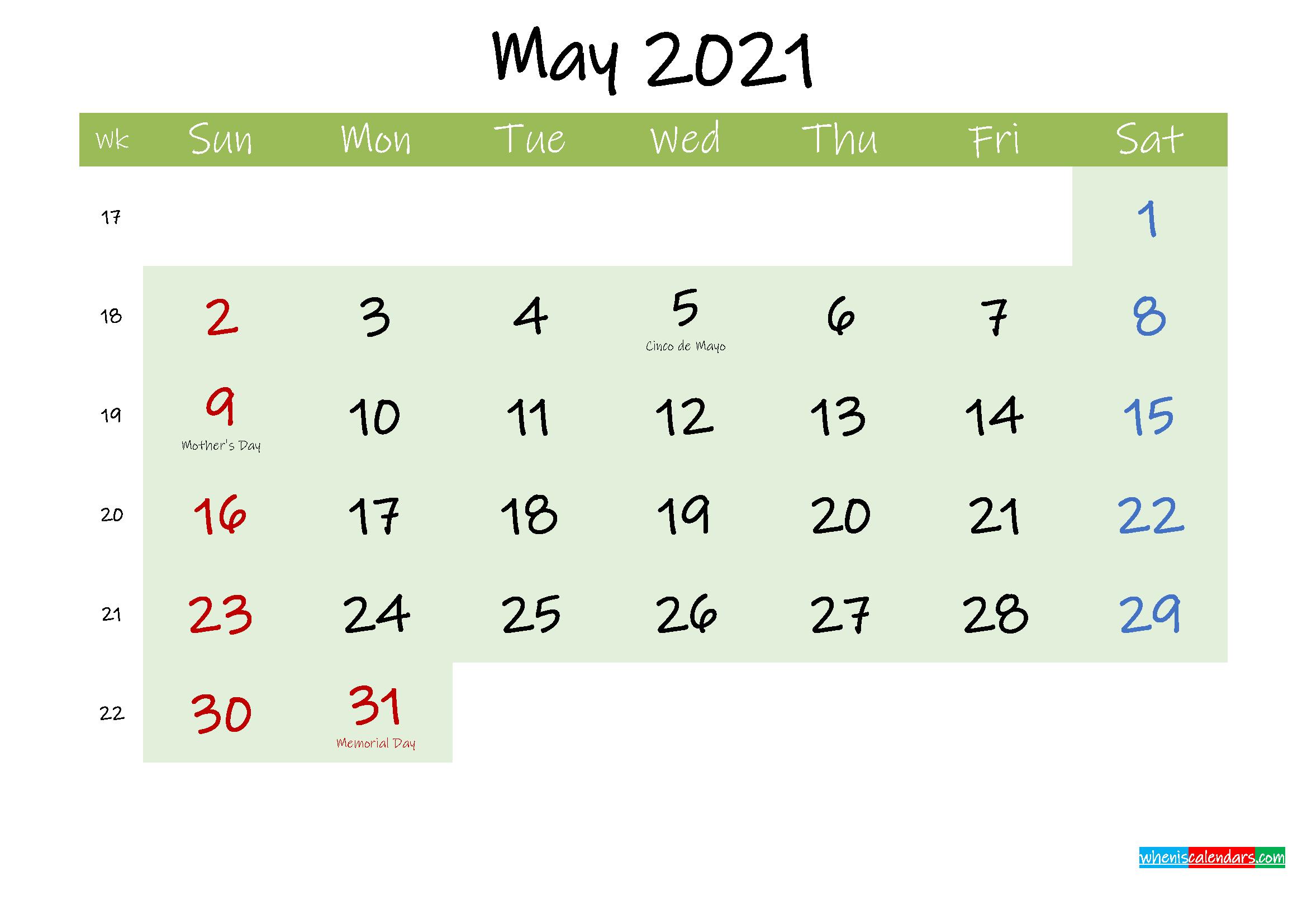 May 2021 Calendar with Holidays Printable