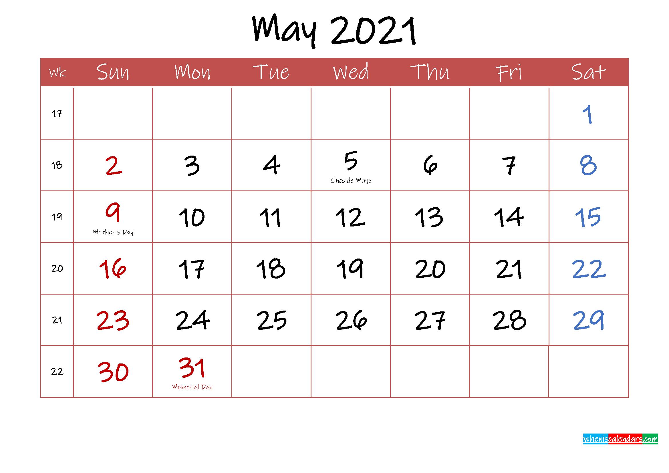 Printable May 2021 Calendar with Holidays