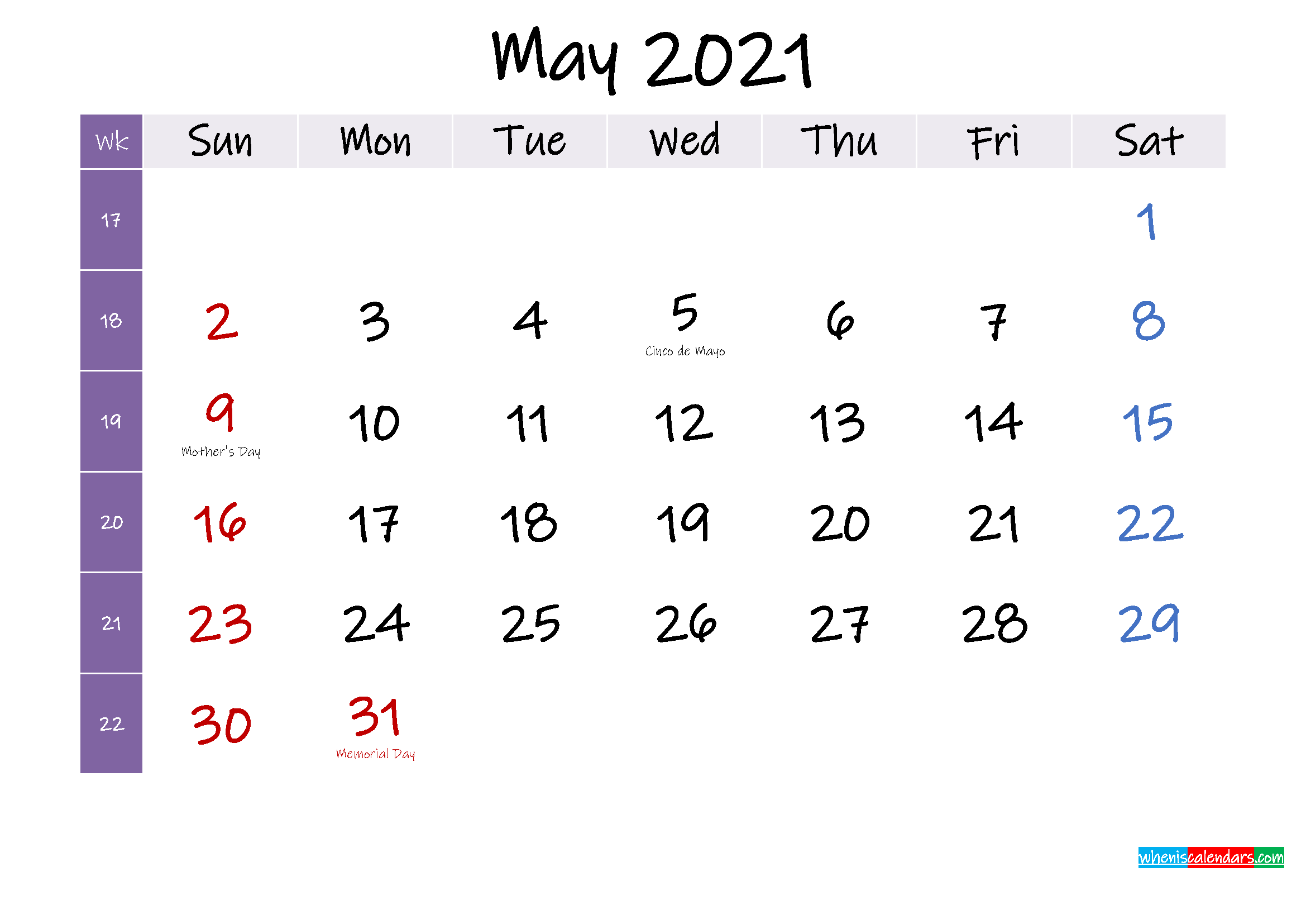 May 2021 Free Printable Calendar with Holidays - Template ...