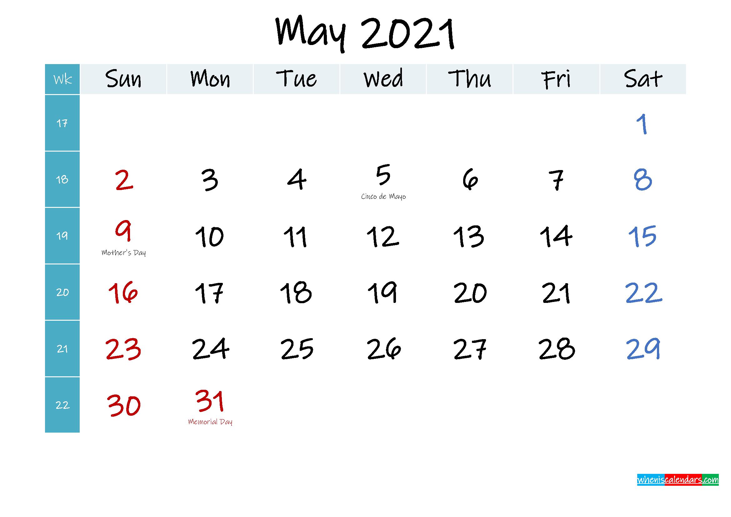 May 2021 Free Printable Calendar