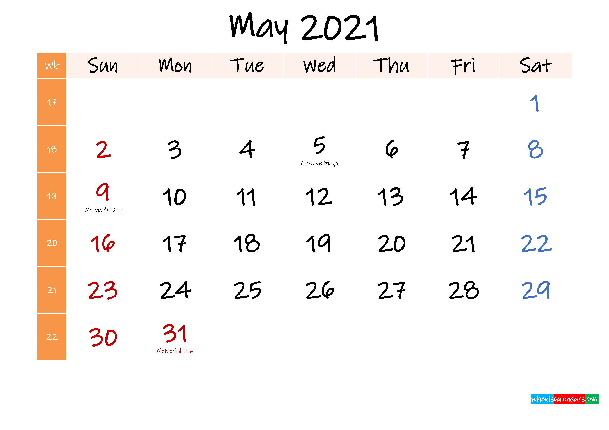 Free May 2021 Monthly Calendar Template Word