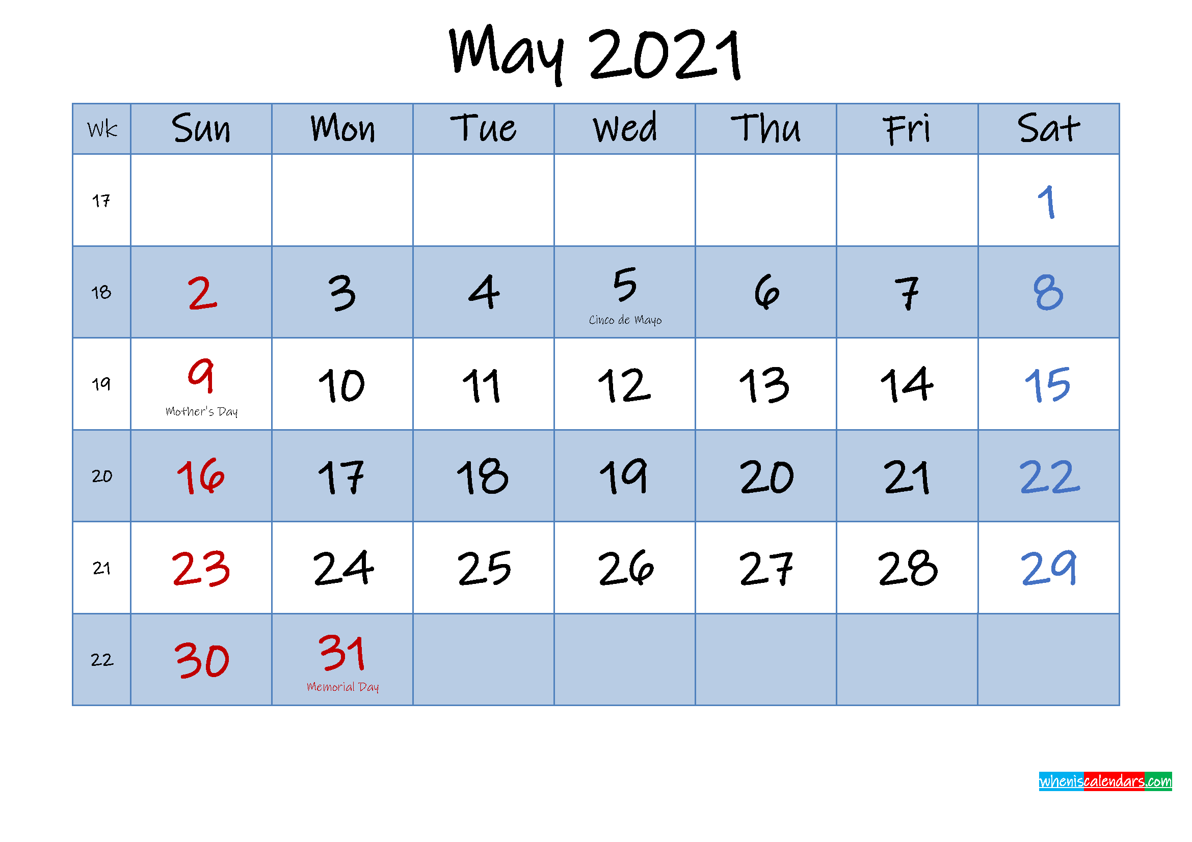 Free May 2021 Monthly Calendar PDF