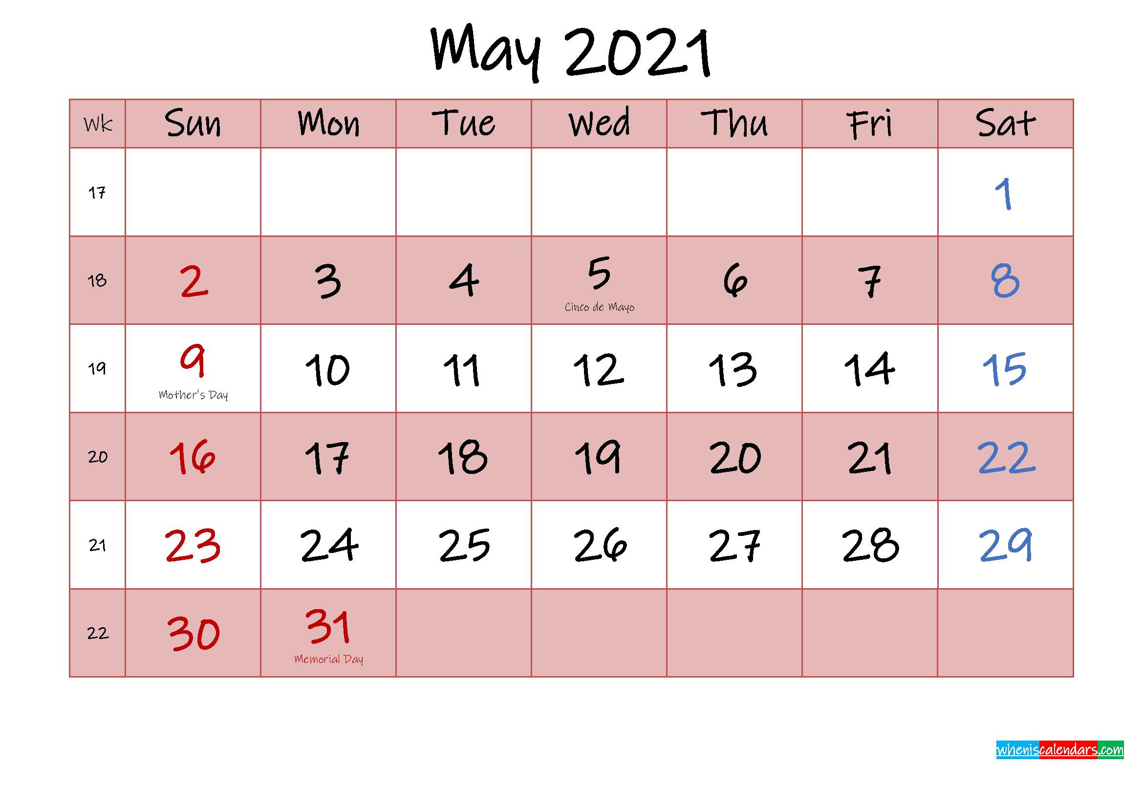 Free Printable Coloring Calendar 2021 May