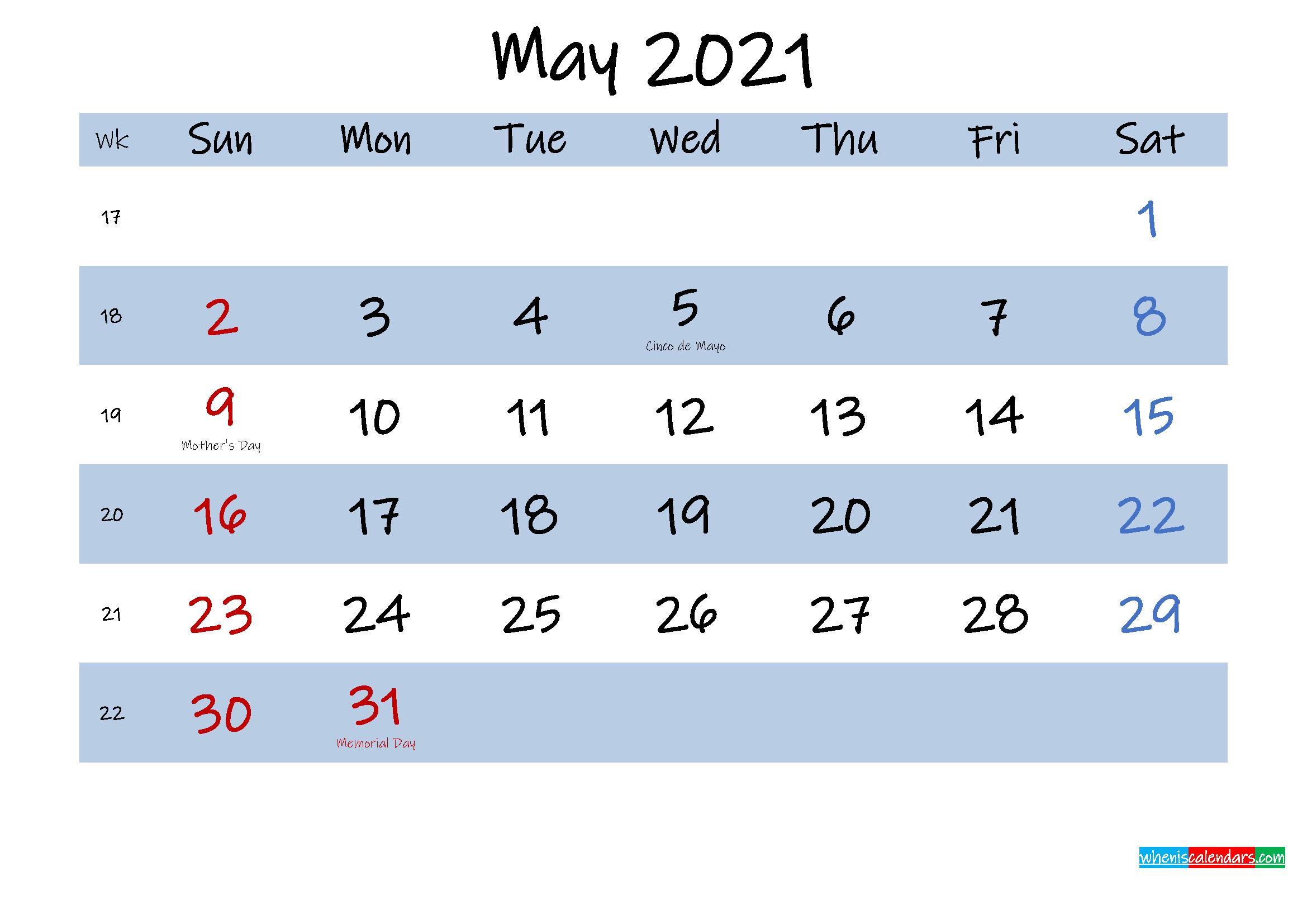 Printable May 2021 Calendar Word