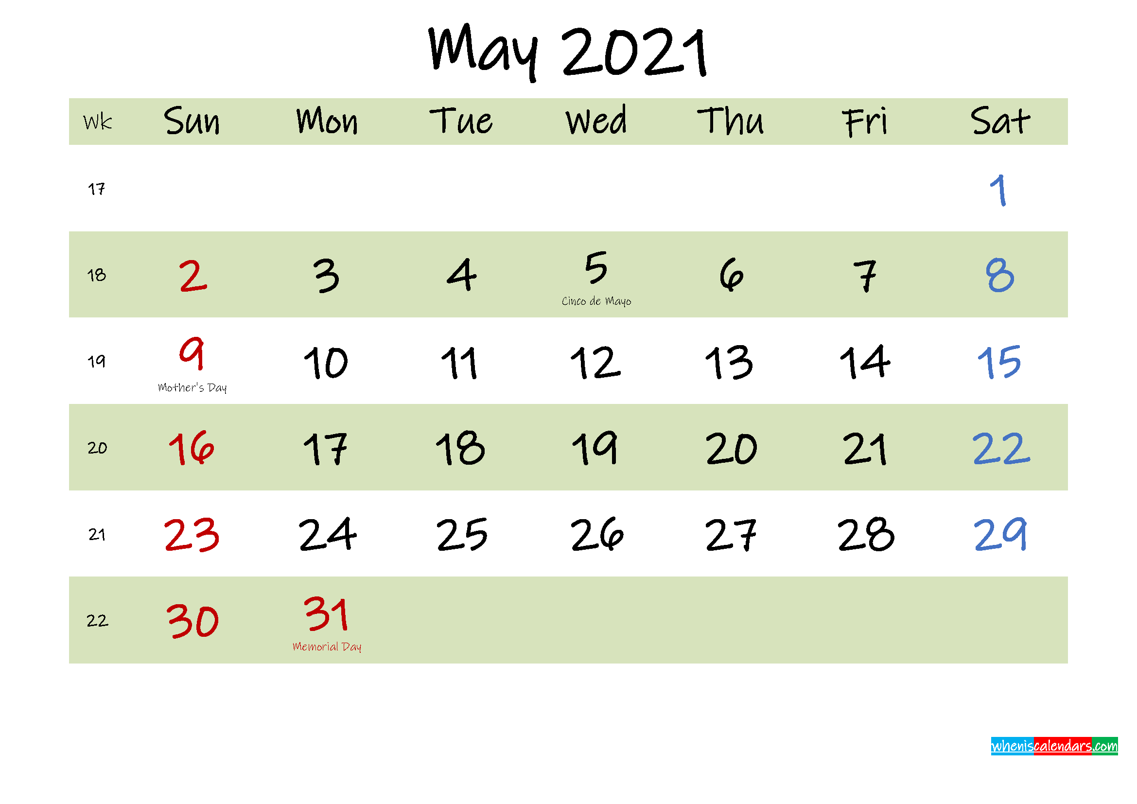 Free Printable May 2021 Calendar with Holidays - Template ...