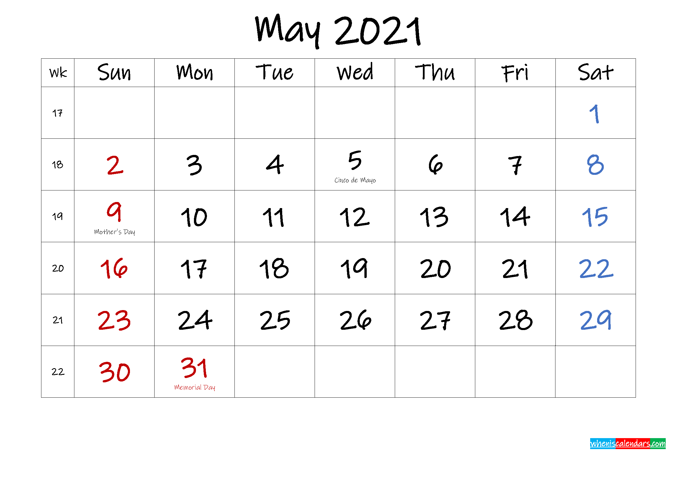 May 2021 Free Printable Calendar with Holidays