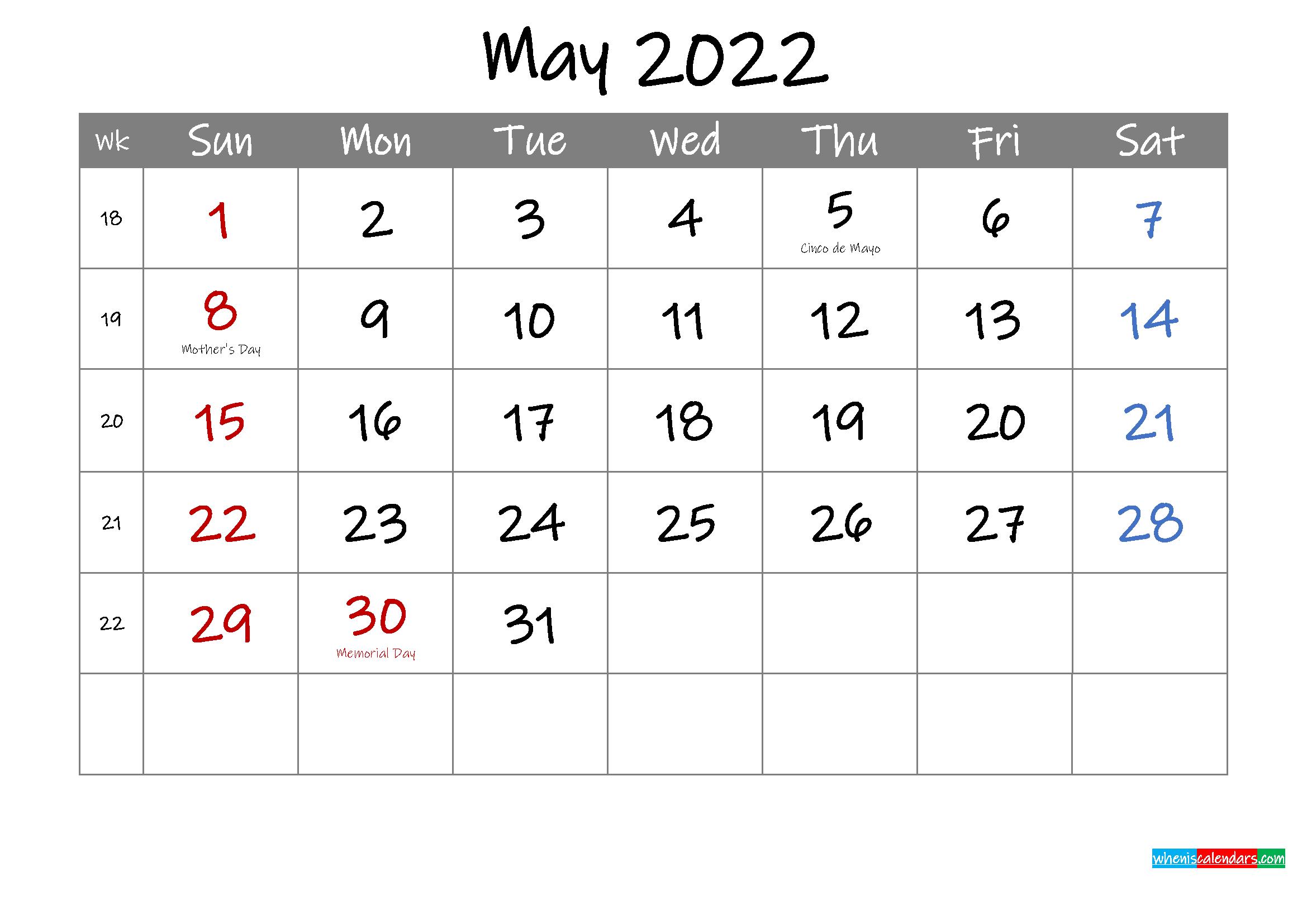 Editable May 2022 Calendar with Holidays